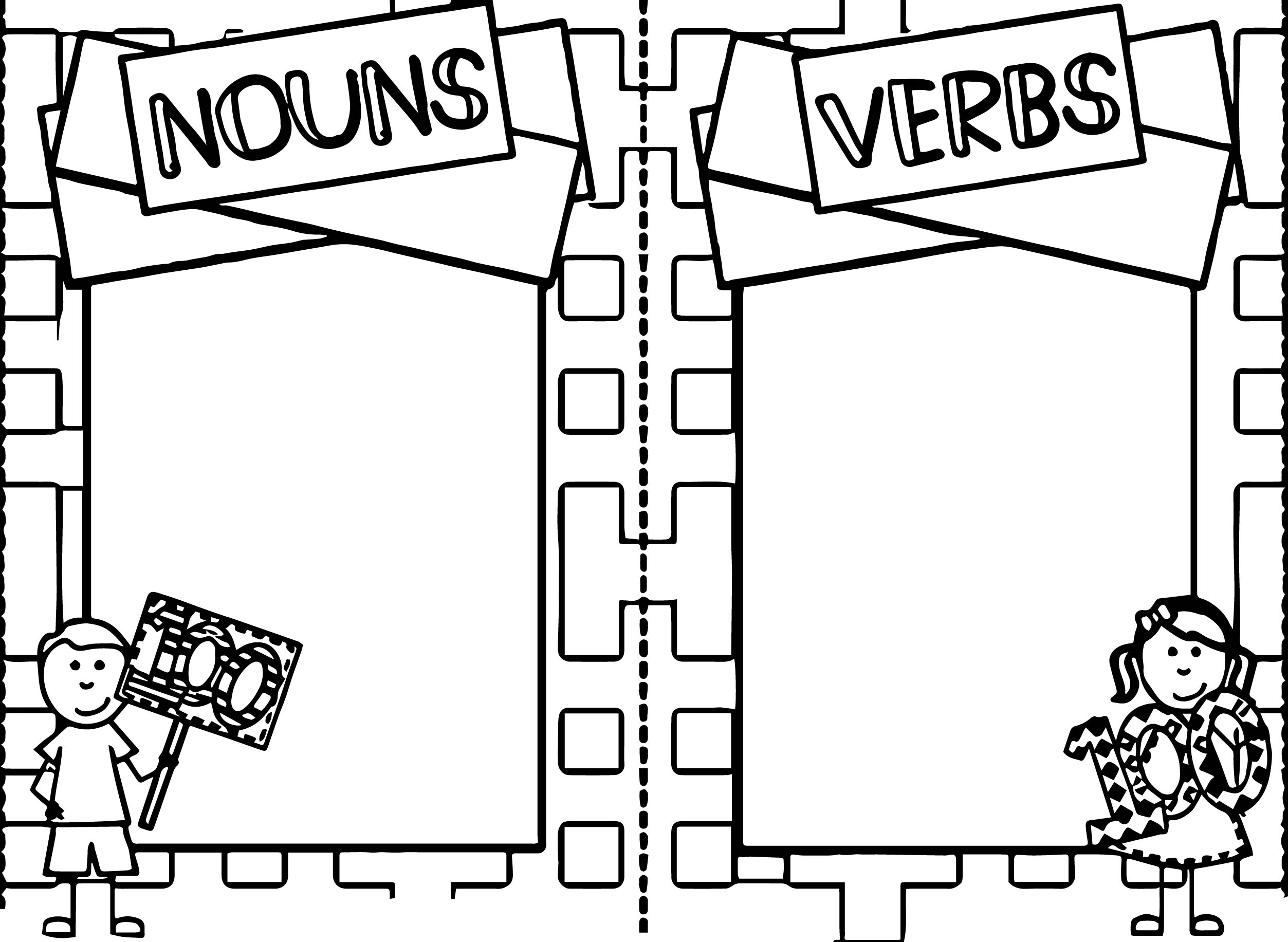 100 Days Of School Nouns Verbs Coloring Page