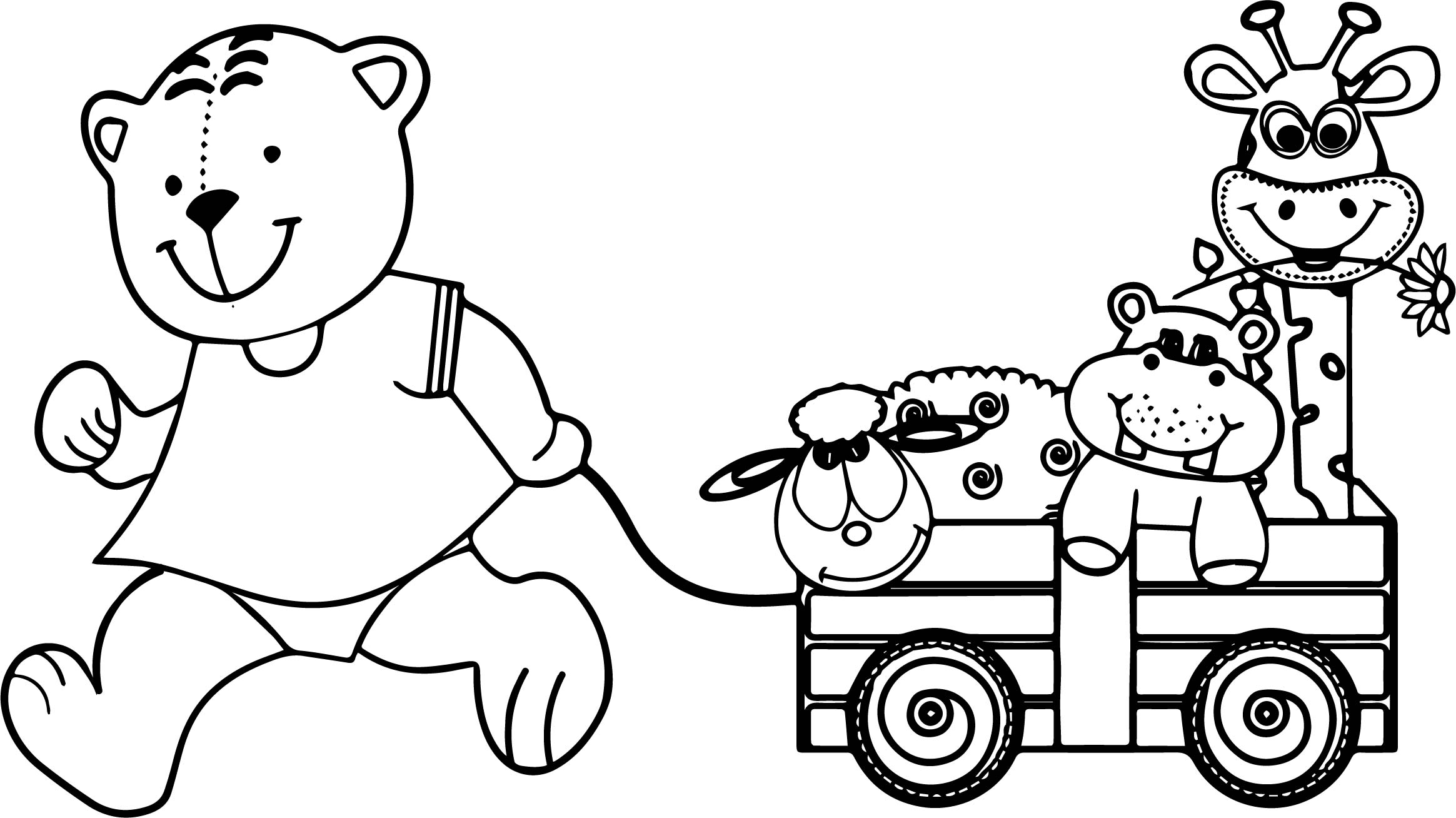 Bear And Toys Coloring Page
