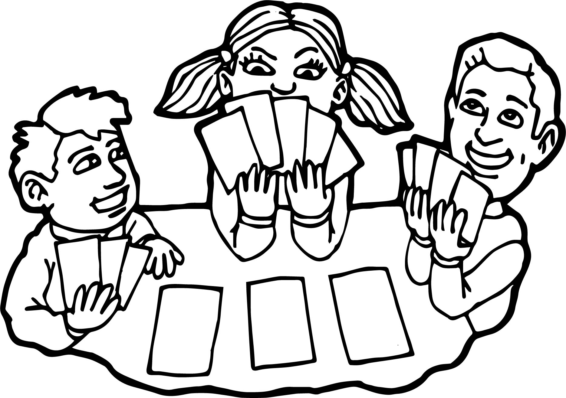 Children Playing Card Board Coloring Page Wecoloringpage