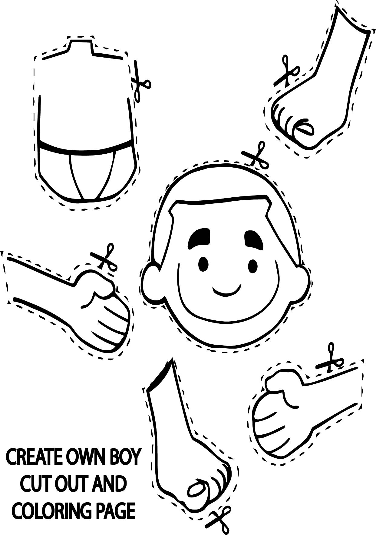 Create Own Boy Cut Out Coloring Page