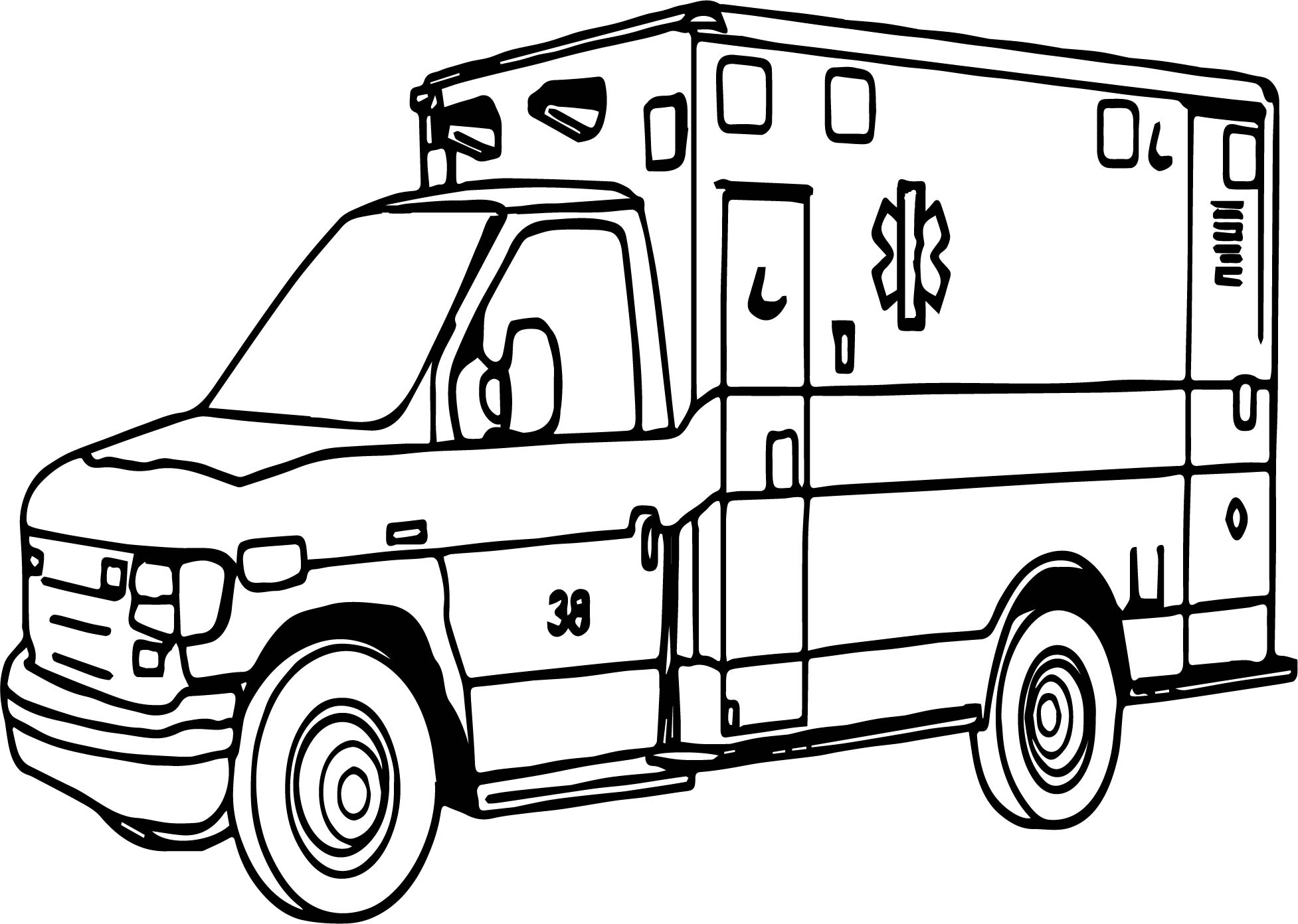 Important Ambulance Coloring Page