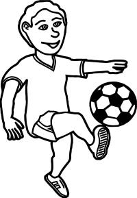 Kids Kick Soccer Ball Playing Football Coloring Page