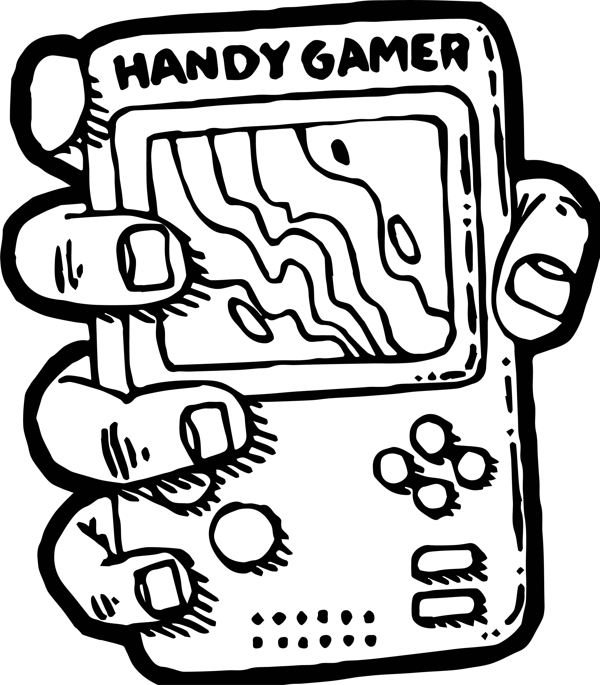 Nintendo Handy Gamer Playing Computer Games Coloring Page