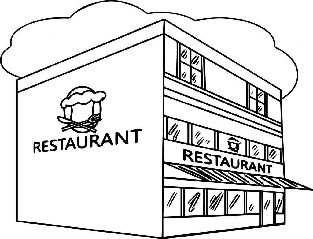 Restaurant Building Great Restaurant Coloring Page