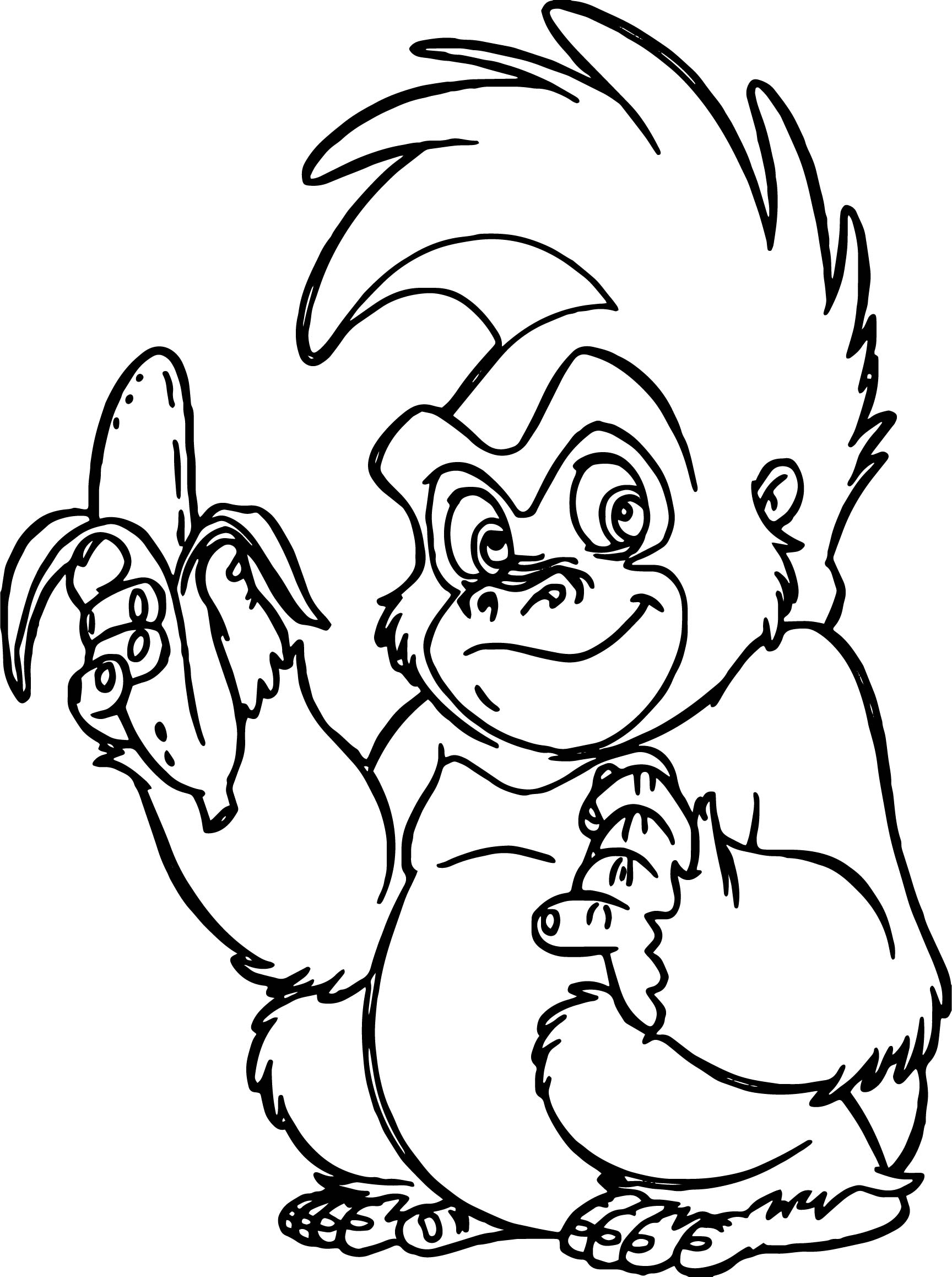 Banana Monkey Coloring Pages Free Printable. Banana. Best