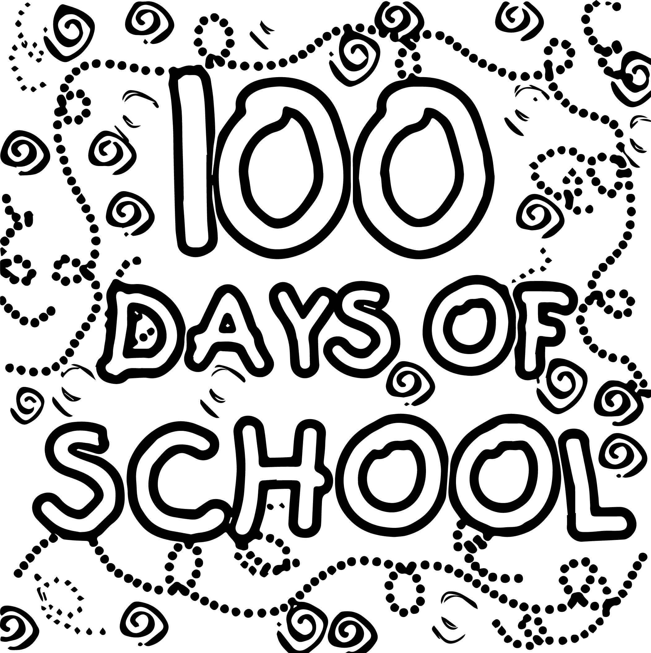 100th Day Of School For Kindergarten Text Coloring Page