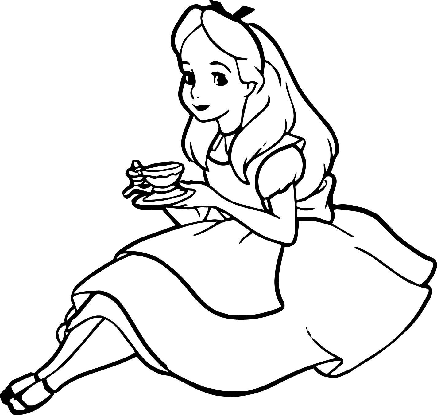 Alice Drink Tea Coloring Page