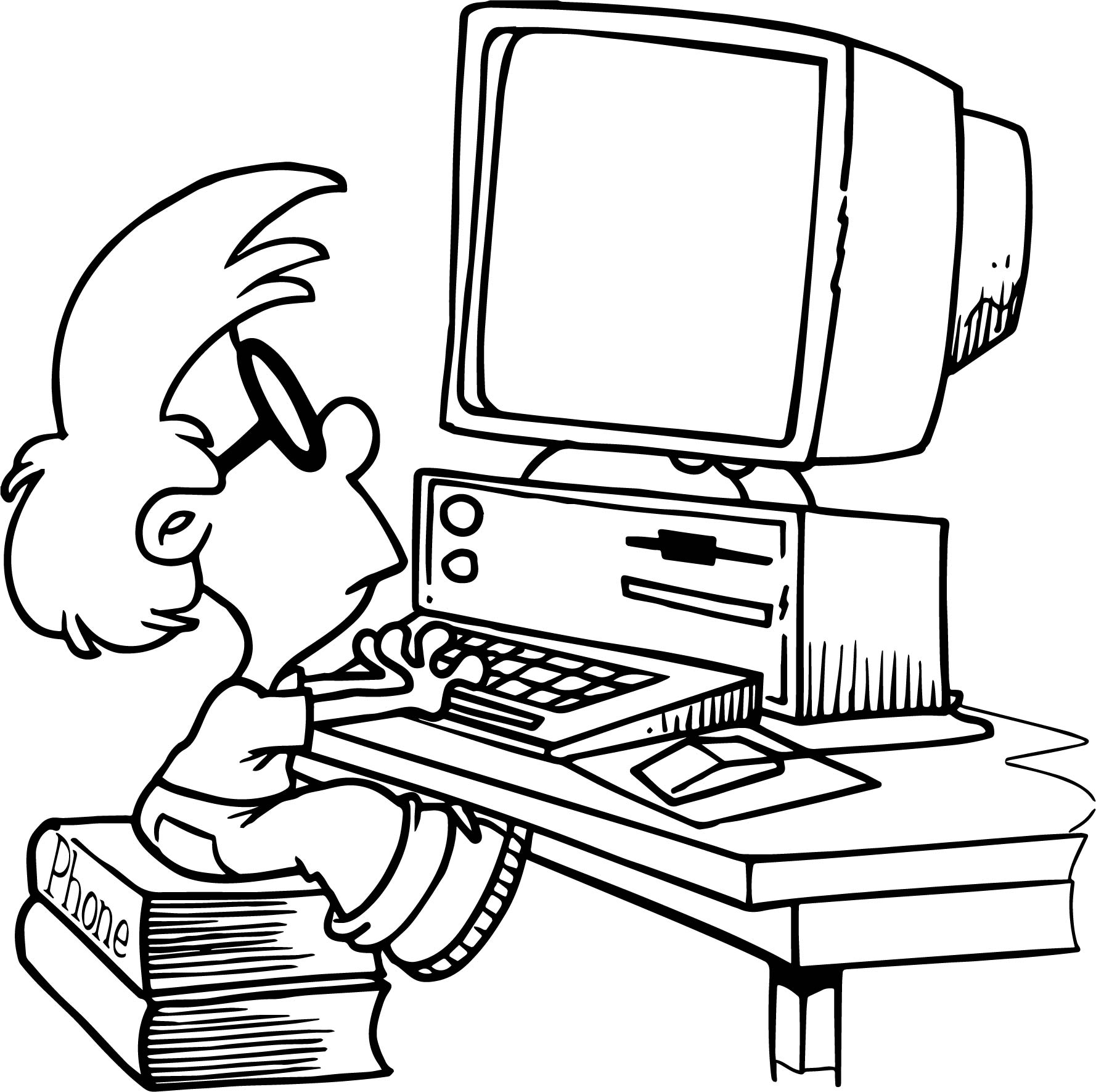 Computer Kid Playing Coloring Page