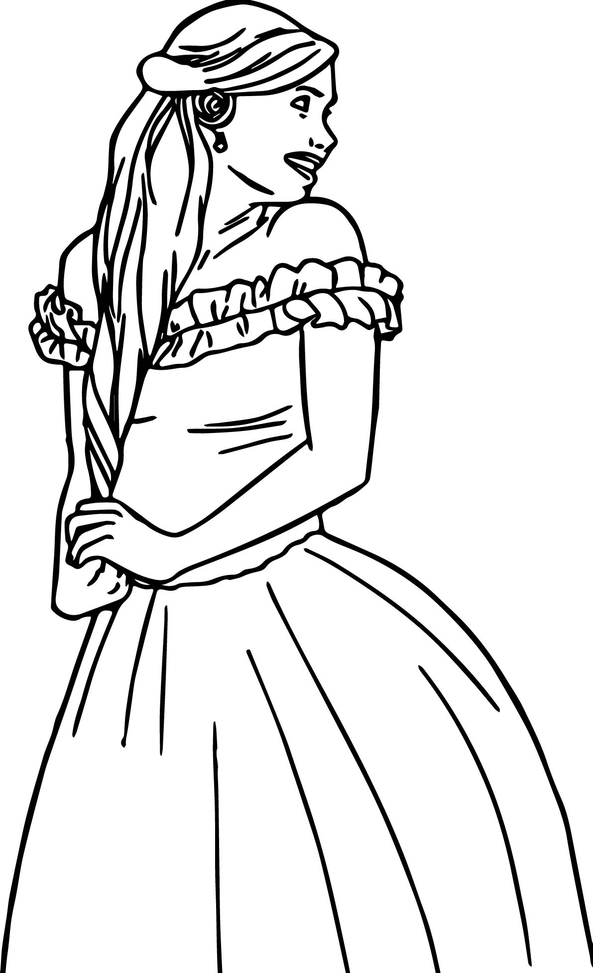 Disney Enchanted Happy Woman Back Looking Coloring Pages