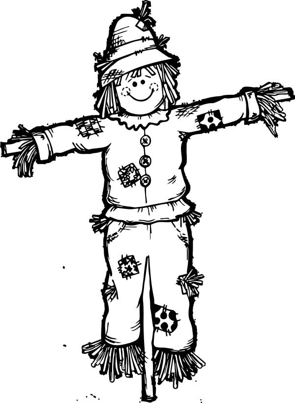 fall scarecrow coloring page