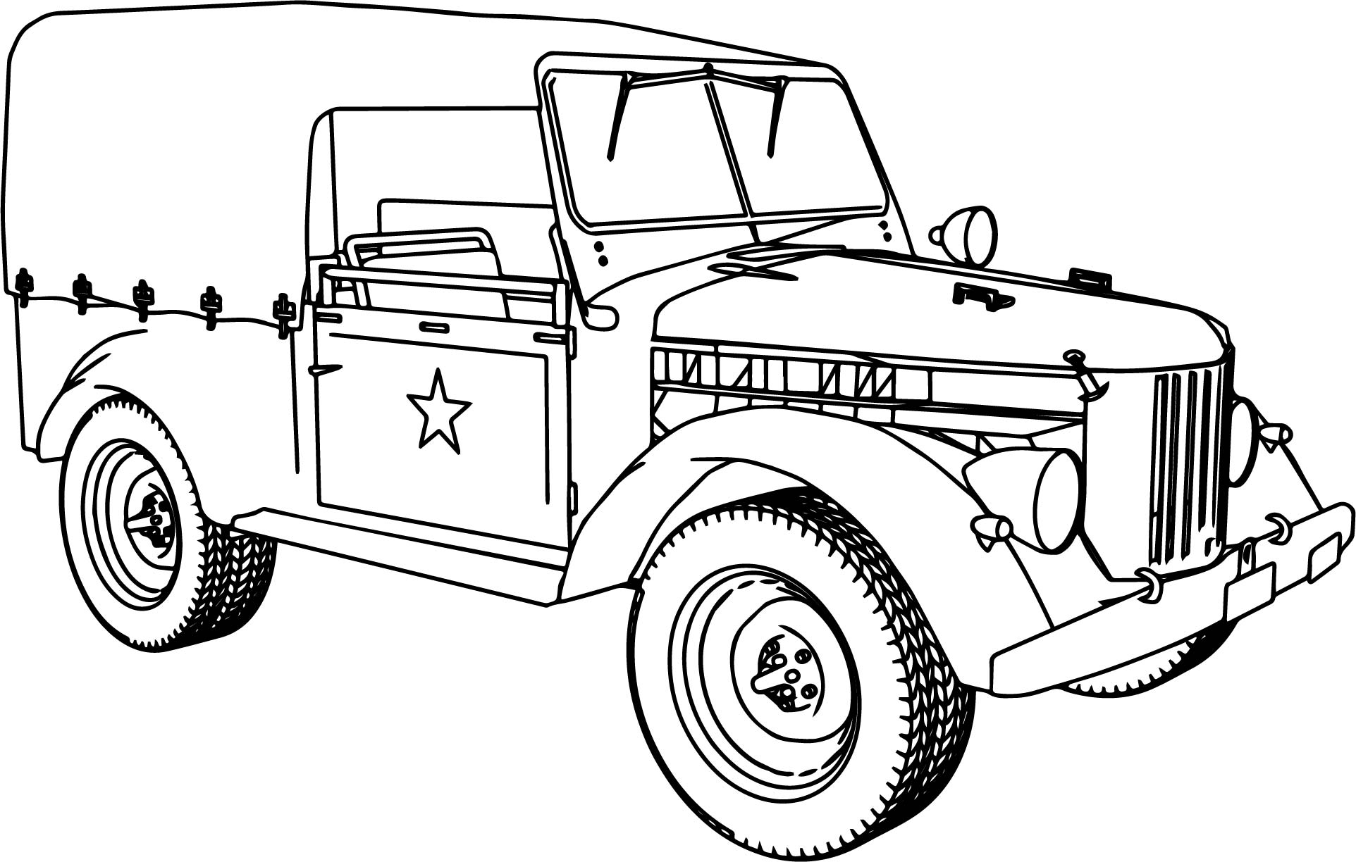 Gaz 69 Military Car Coloring Page