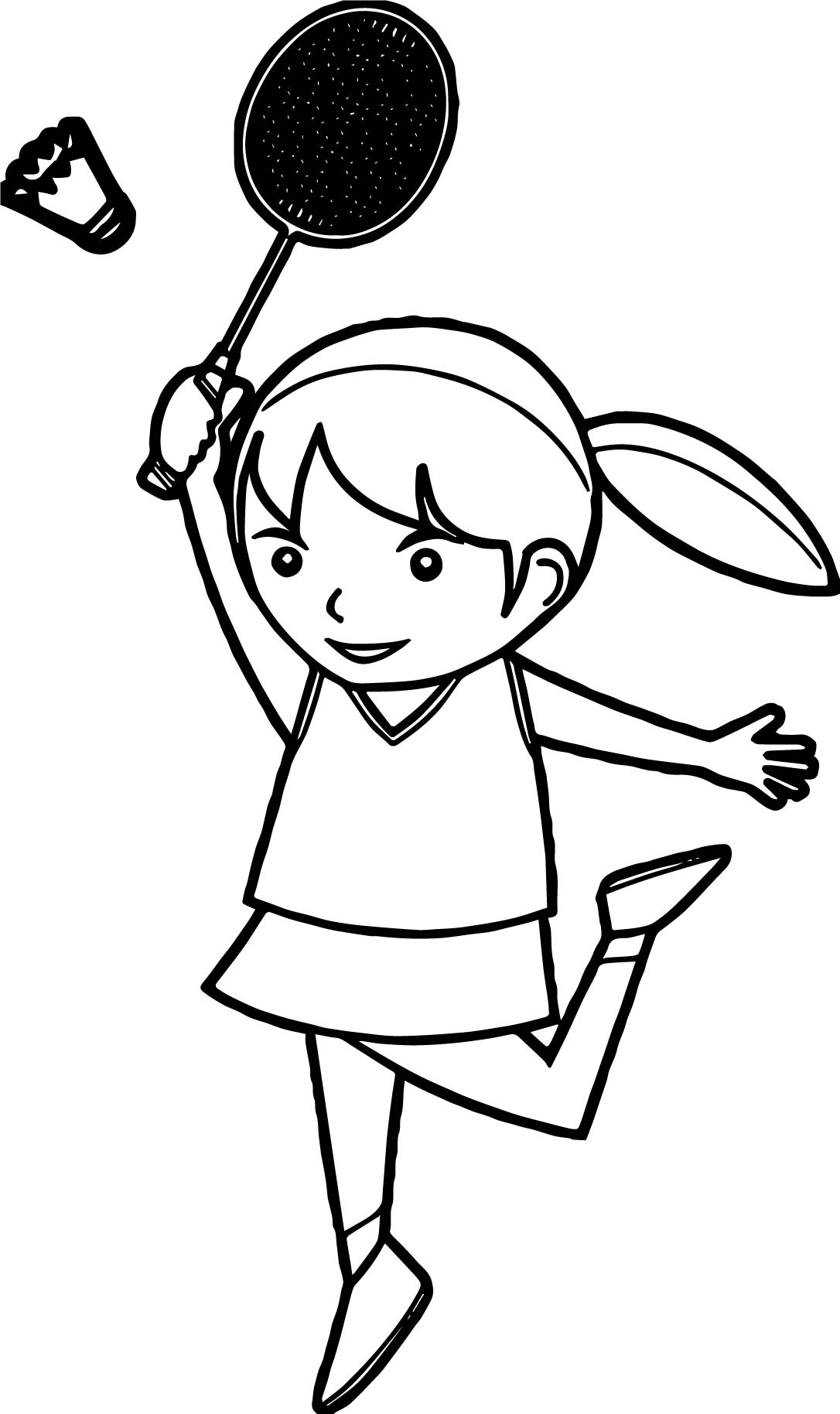 Girl Badminton Tennis Coloring Page