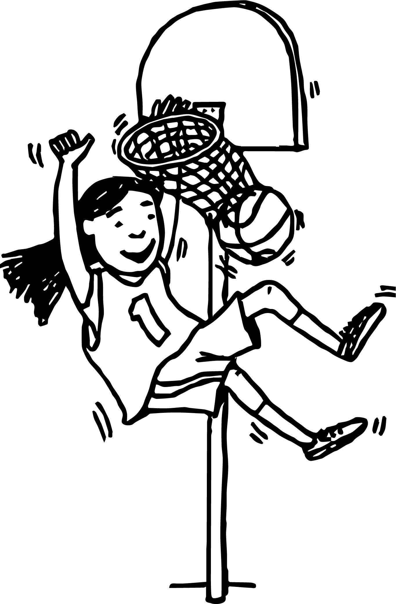 Girl Basketball Player Playing Basketball Throw A Basket