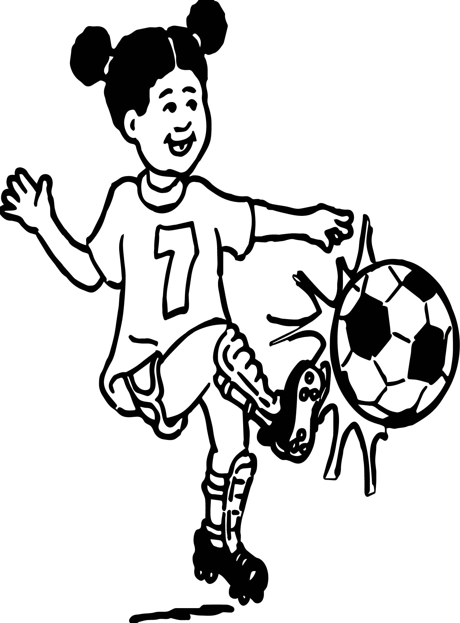 Girl Playing Soccer Playing Football Coloring Page