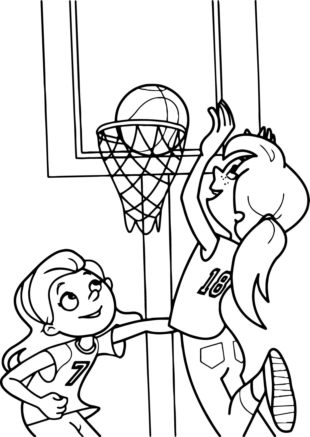 Girls Together Playing Basketball Coloring Page