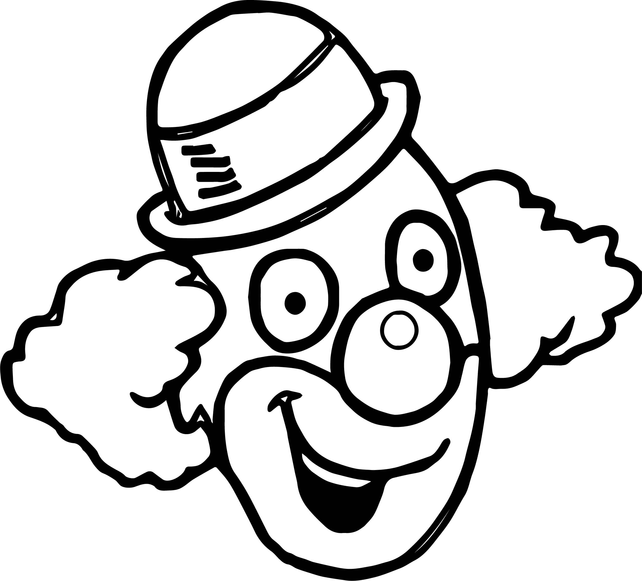 Happy Clown Face Coloring Page