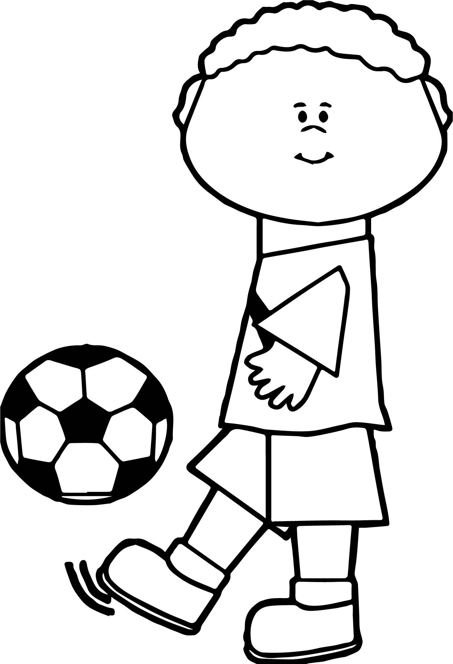 Kids Kick Soccer Ball Playing Football Coloring Page