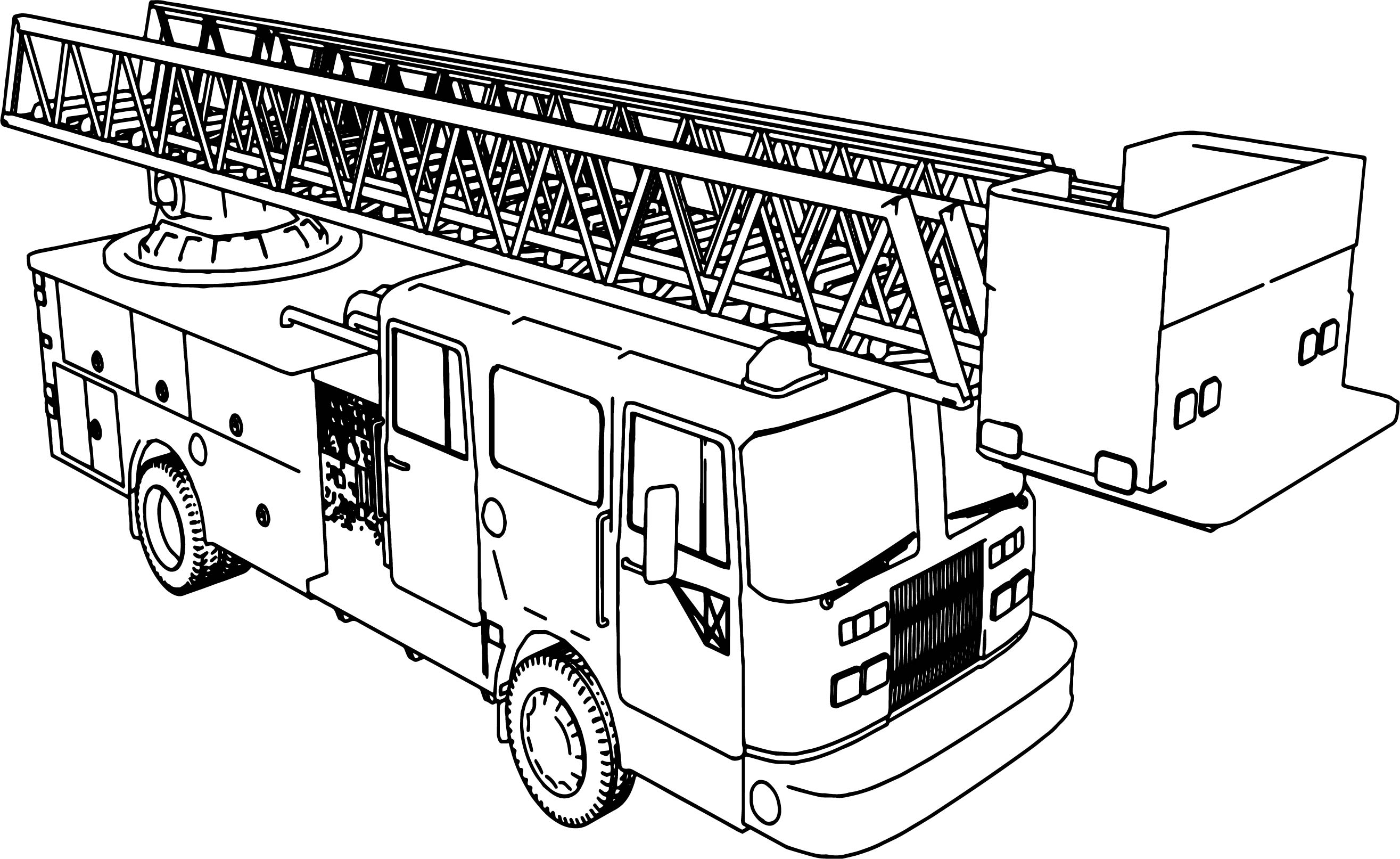 Long Fire Truck Coloring Page