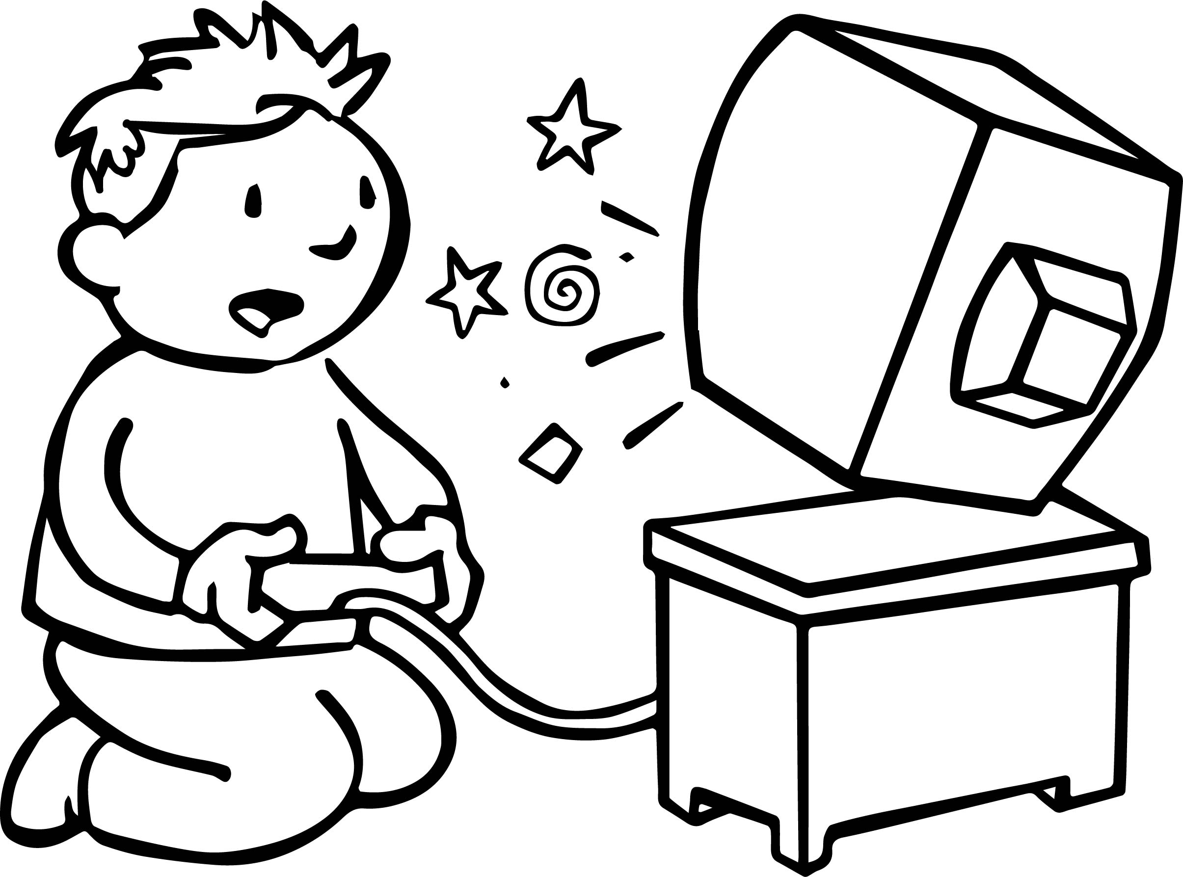 Playing Kid Computer Games Coloring Page