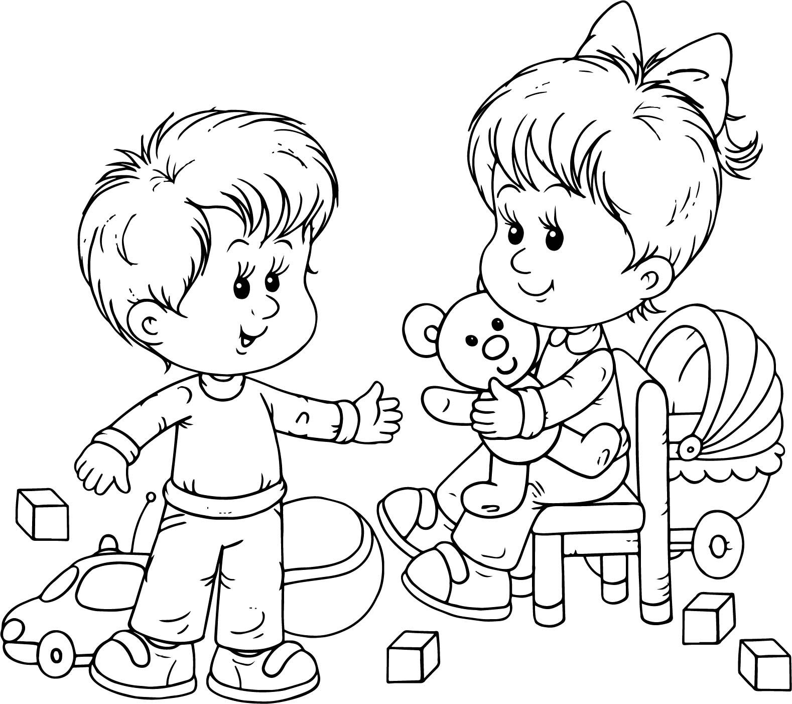 Preschool Boy And Girl Playing Toys Coloring Page