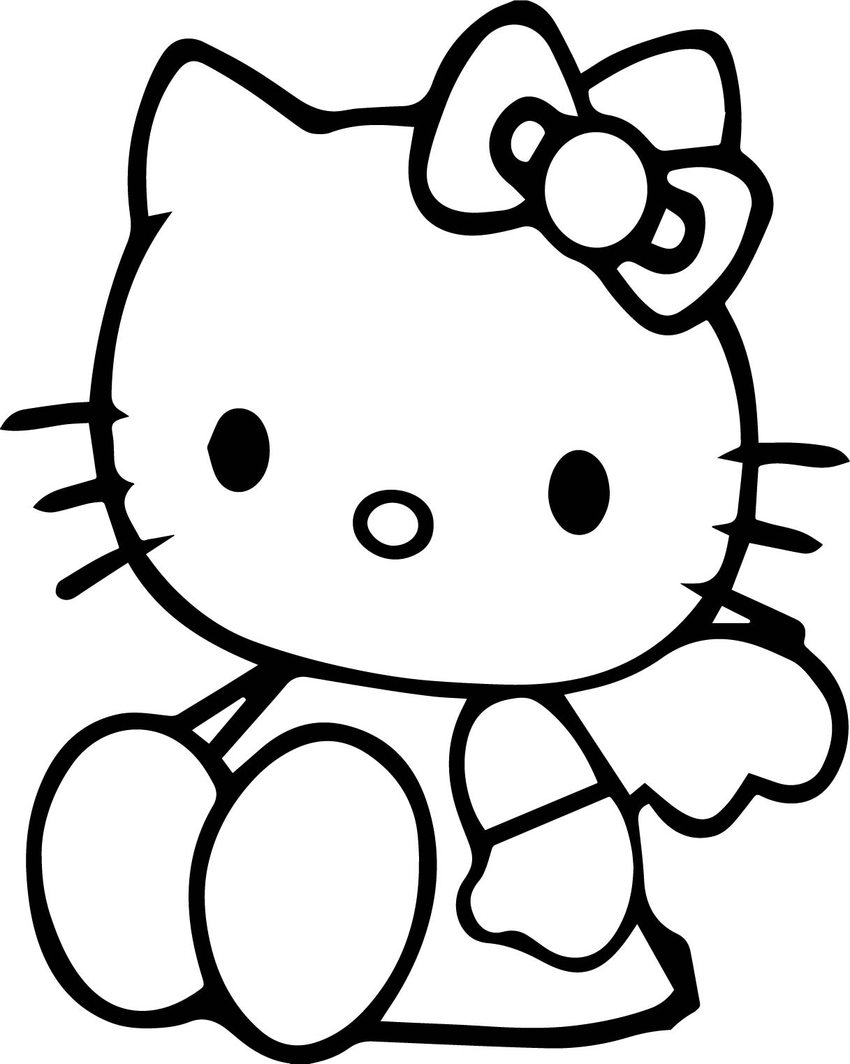 Sitdown Hello Kitty Coloring Page
