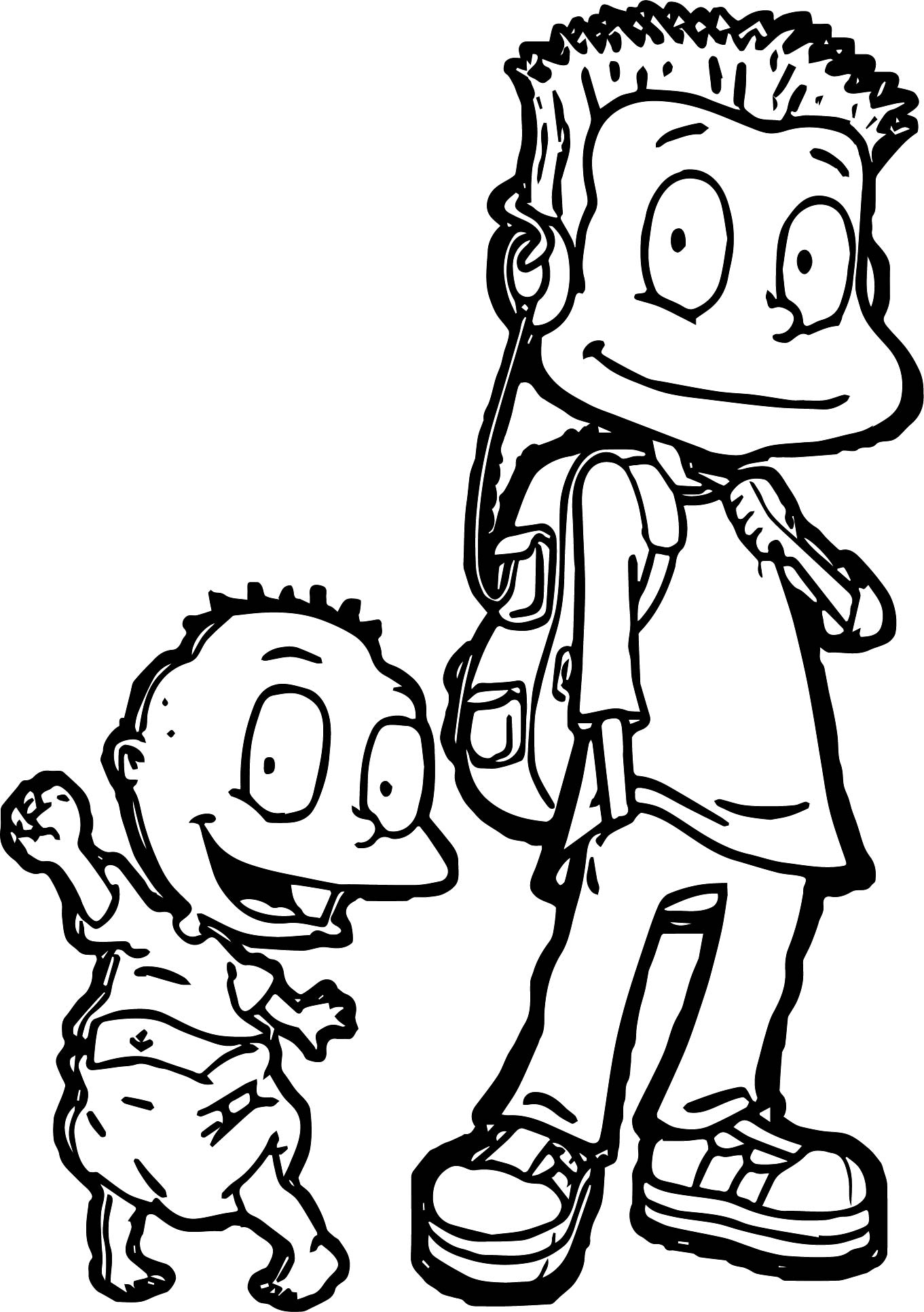 Chuckie Rugrats And Reptar Coloring Page
