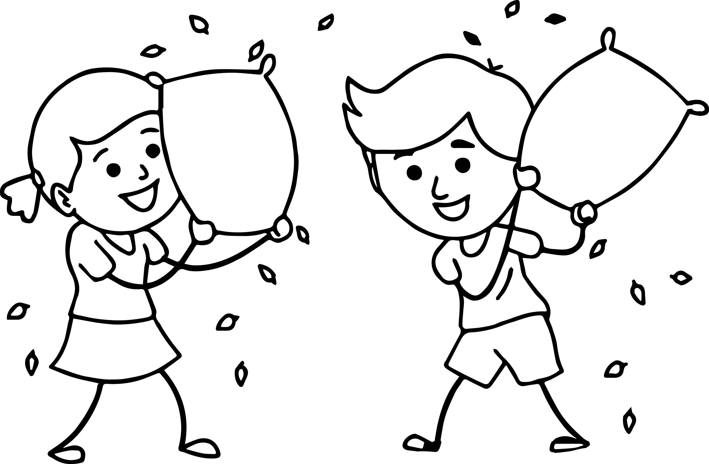 Brother Sister Enjoying Pillow Fighting Family Coloring