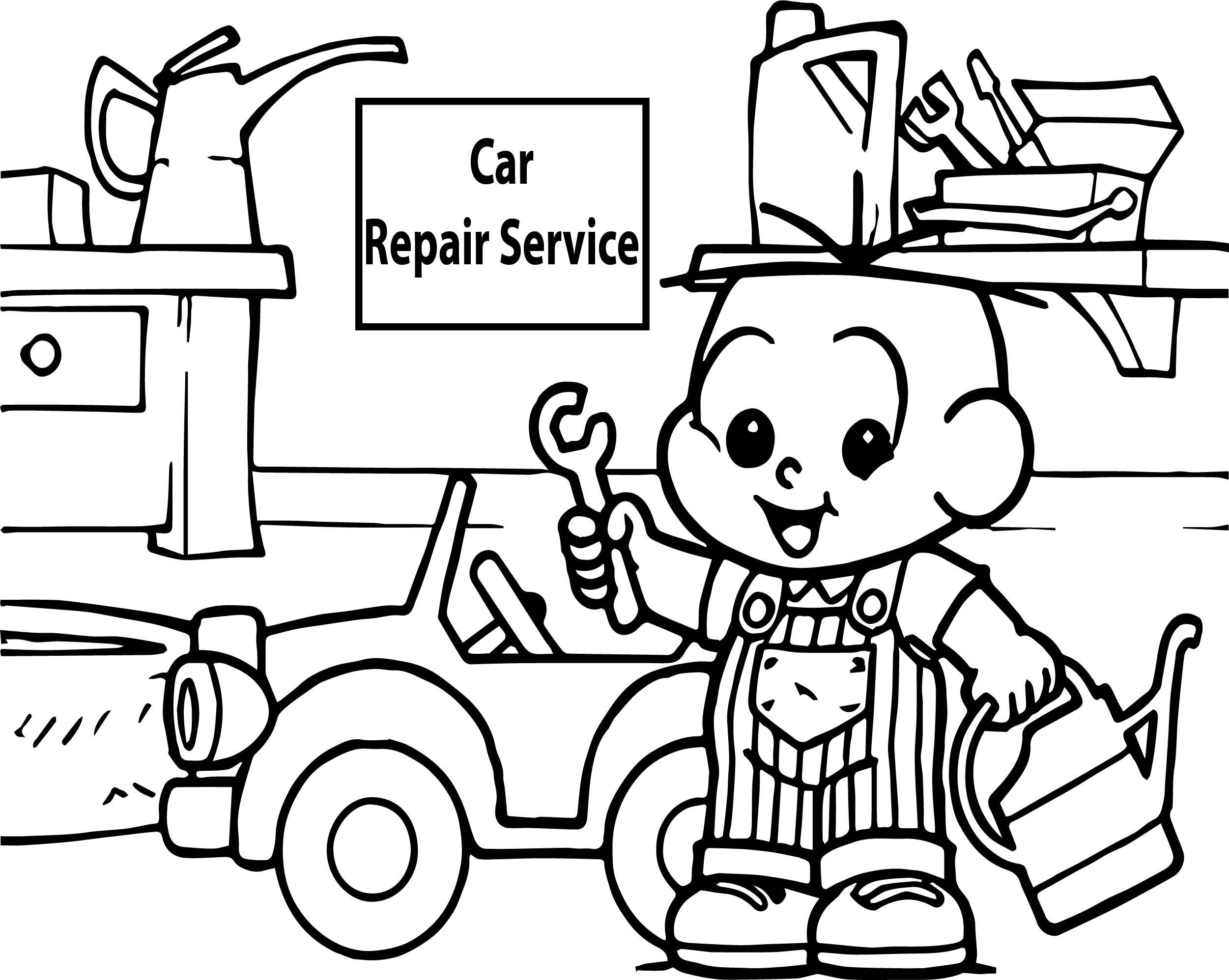 Car Repair Service Oscar Boy Coloring Page