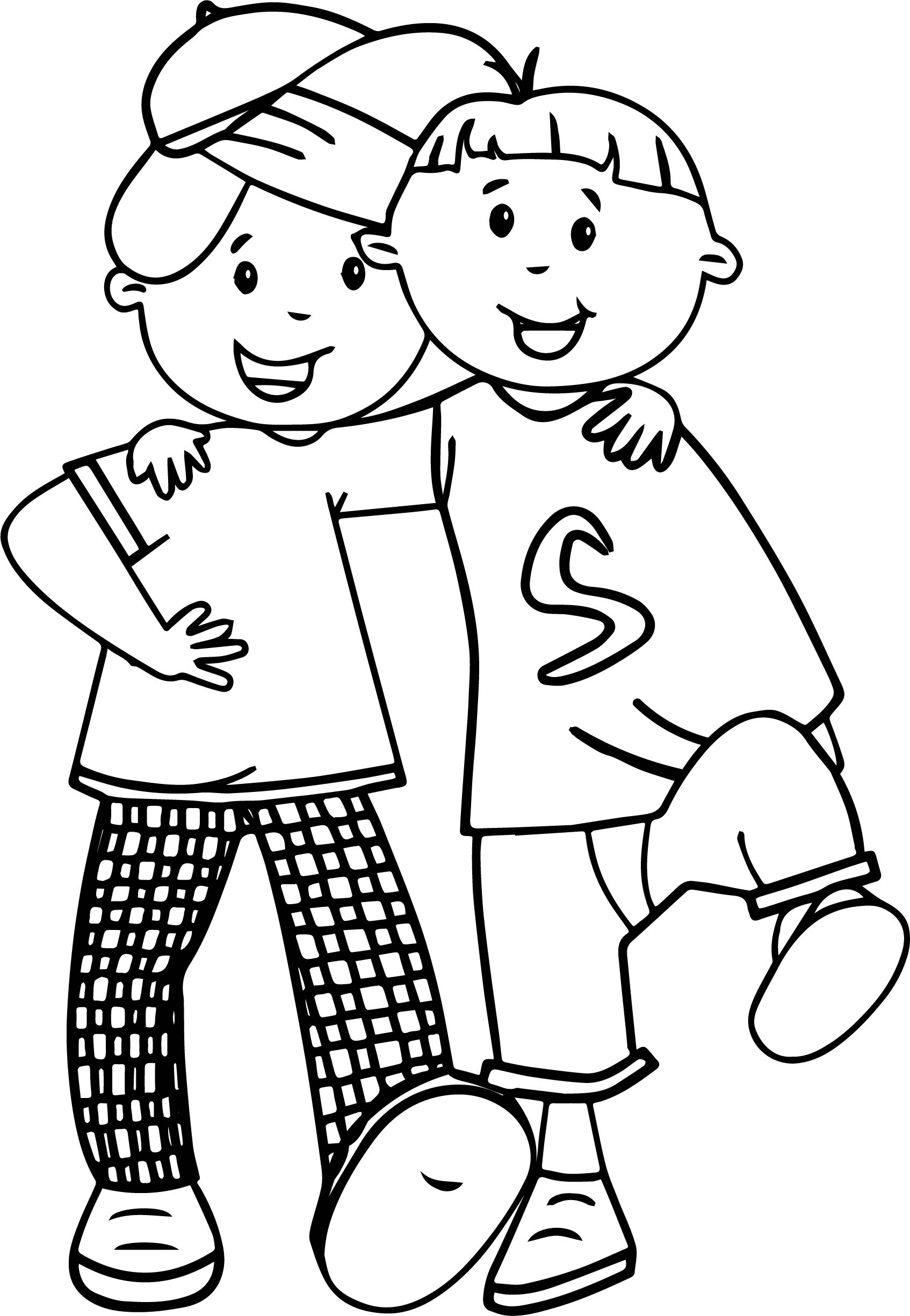Cartoon Best Friends Walking Coloring Page
