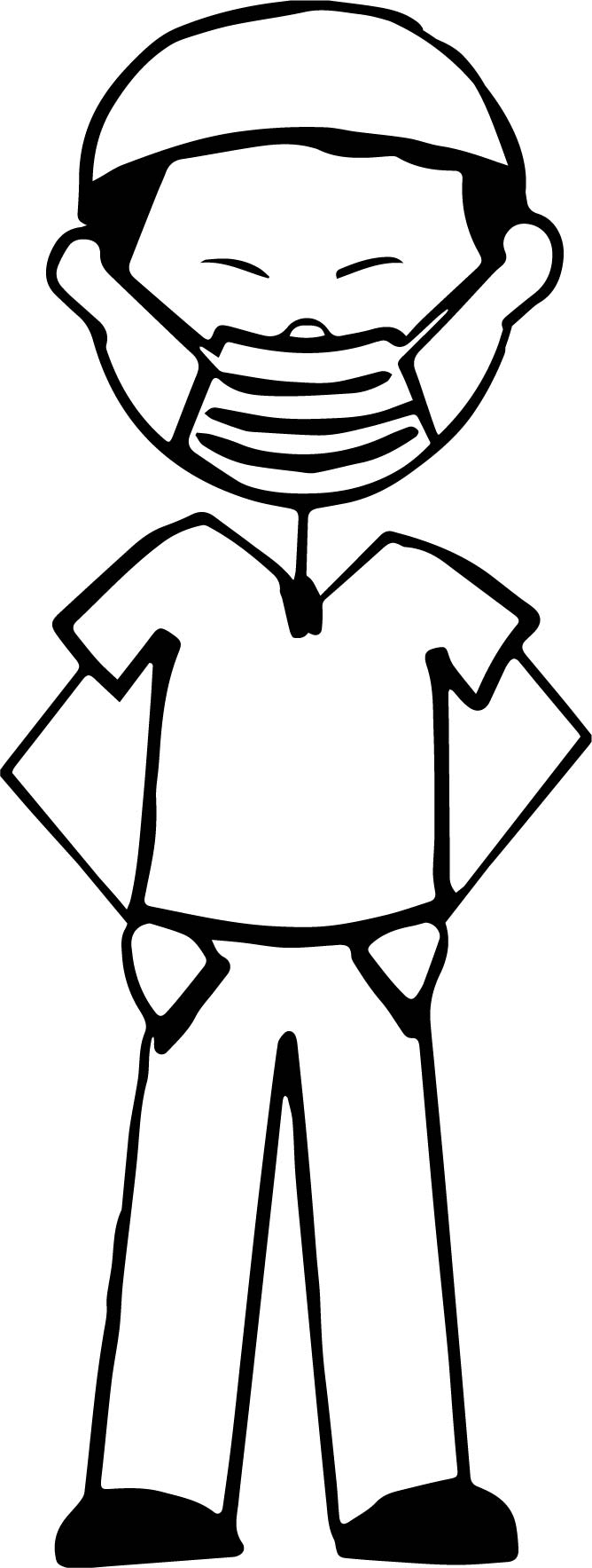 Cartoon Surgeon Wearing A Surgical Mask Coloring Page