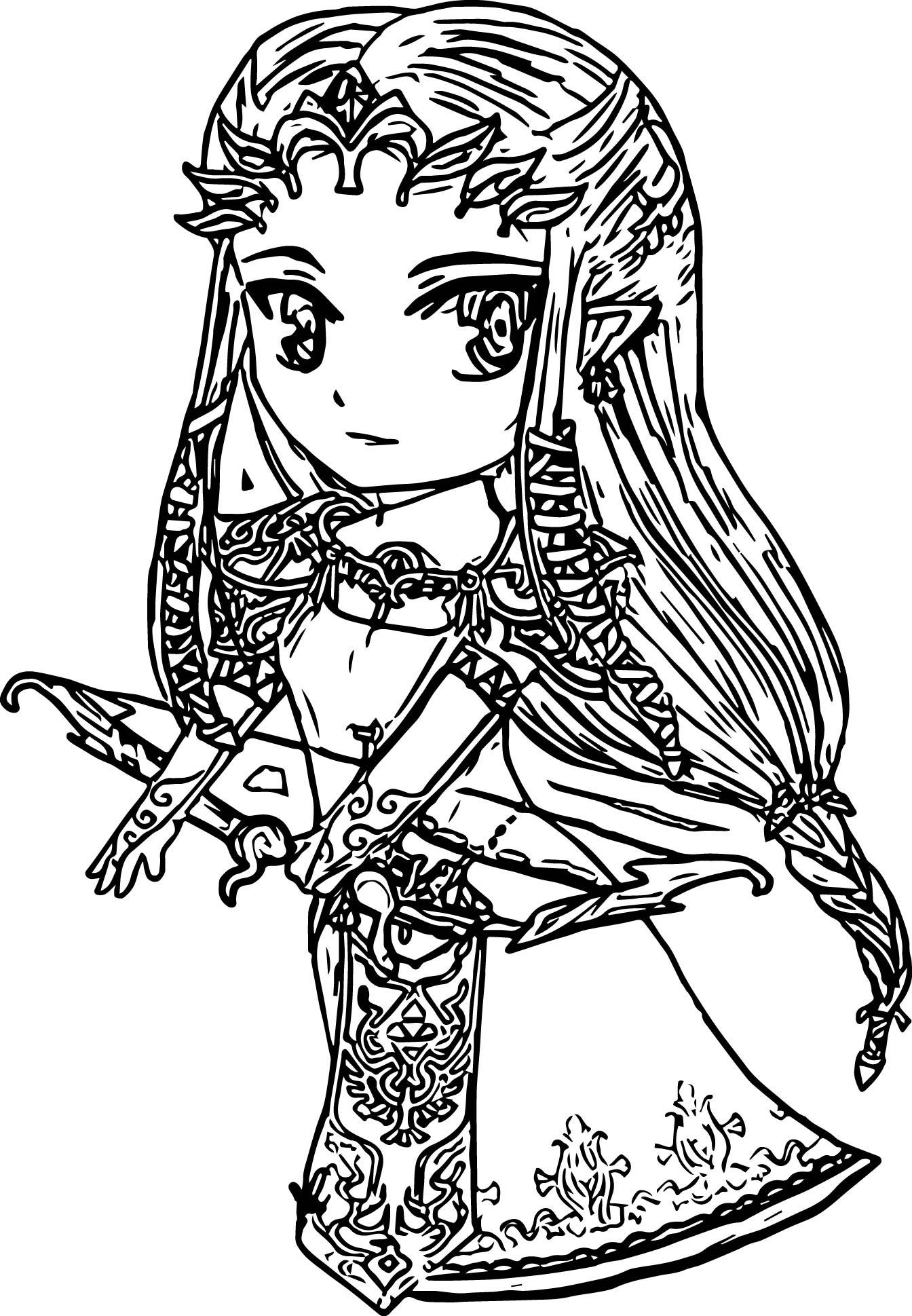 Chibi Zelda Twilight Princess Coloring Page Wecoloringpage
