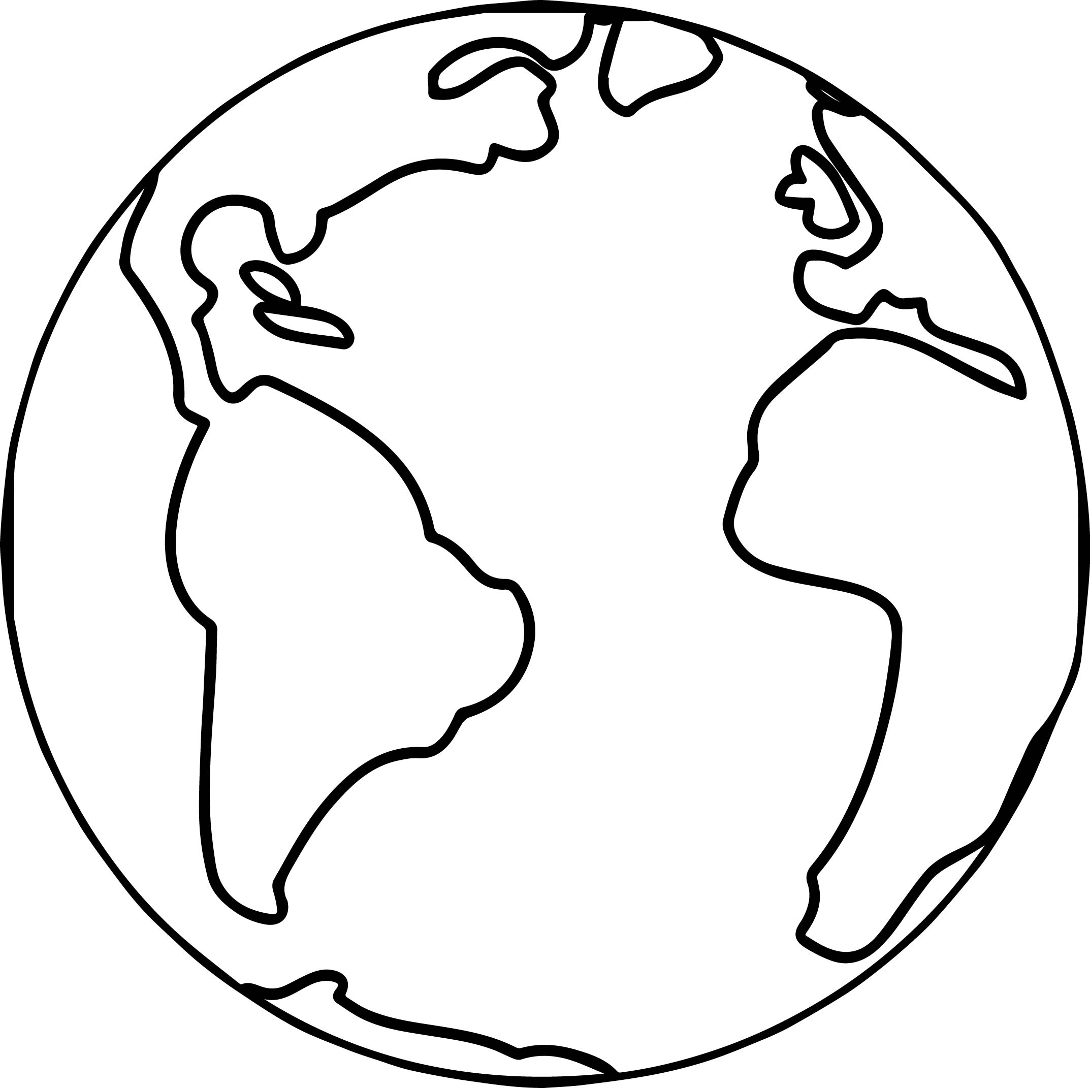 World Globe Line Drawing Sketch Coloring Page