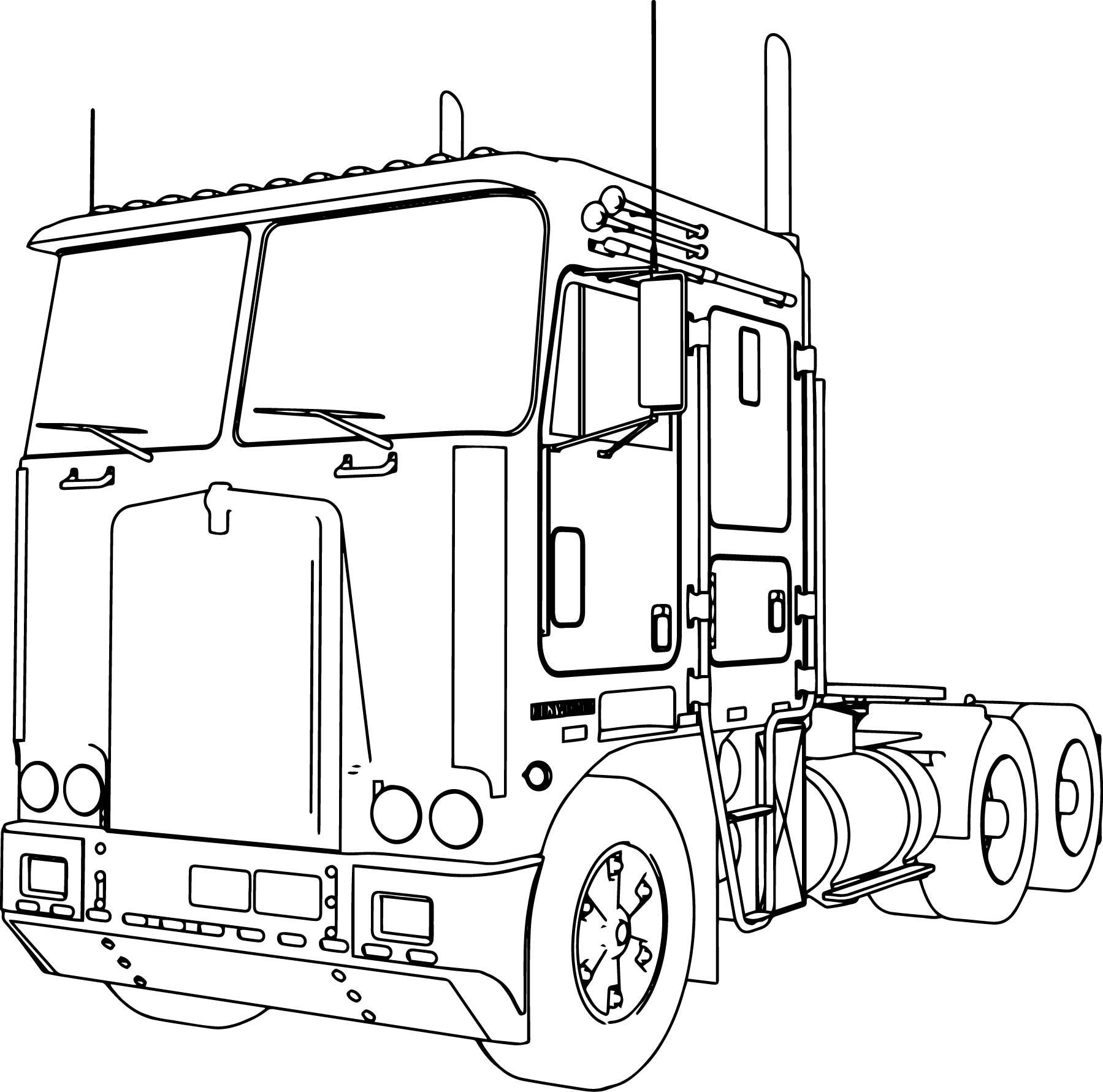 Kenworth K100 Long Trailer Truck Coloring Page
