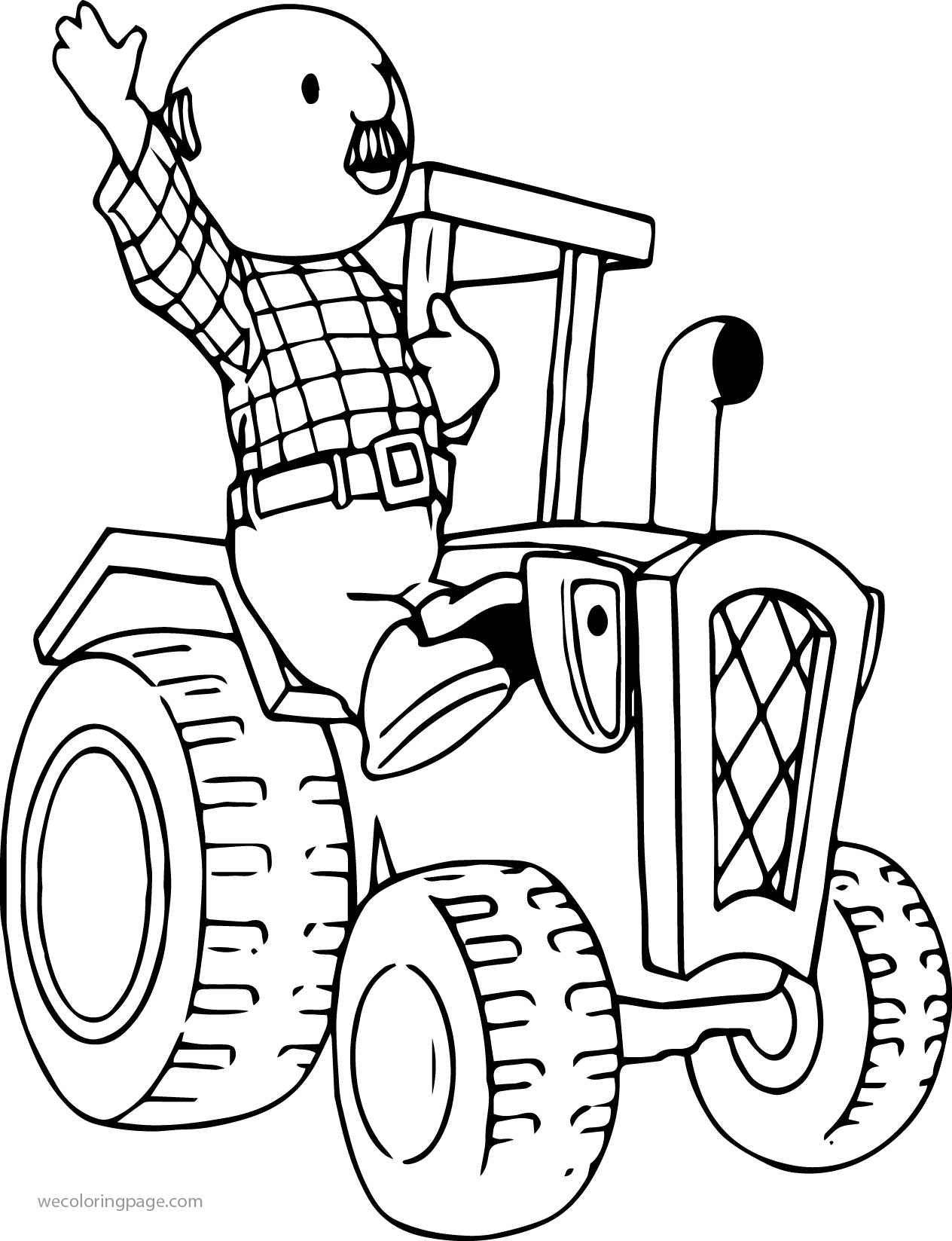 Percy Pickles Driving Tractor Coloring Page