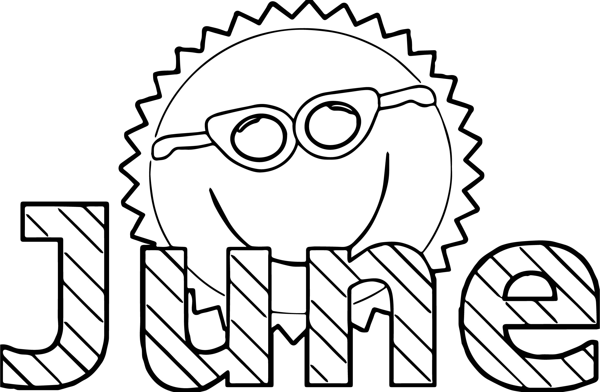 Summer Sun June Coloring Page