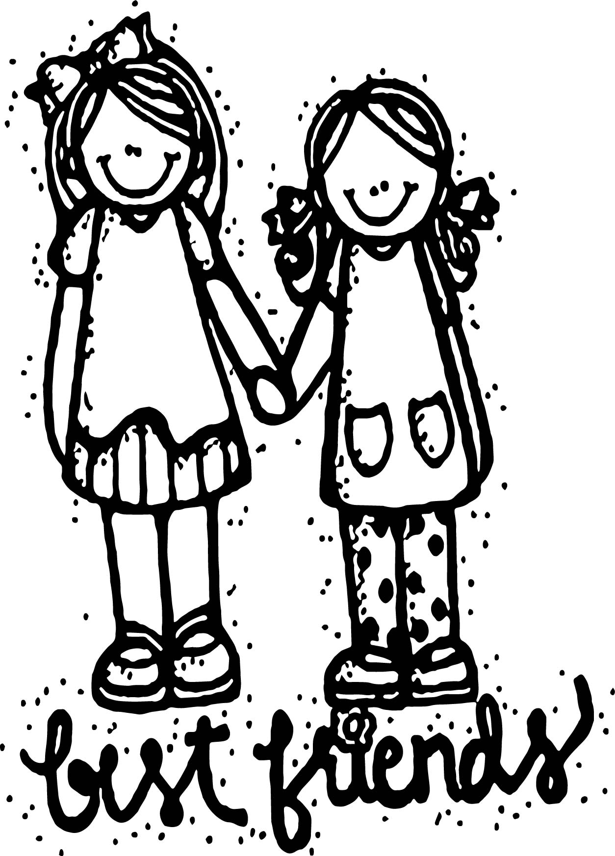 Two Friends Hugging Coloring Page