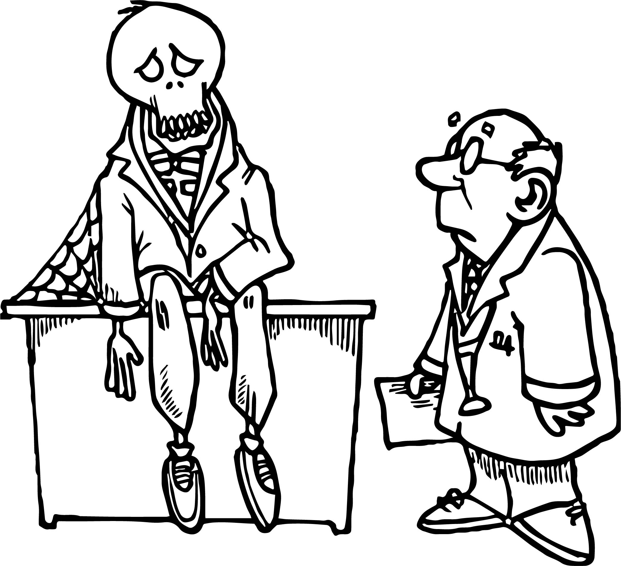 Very Ill Skeleton And Doctor Free Coloring Page