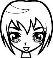 manga short hair girl face coloring