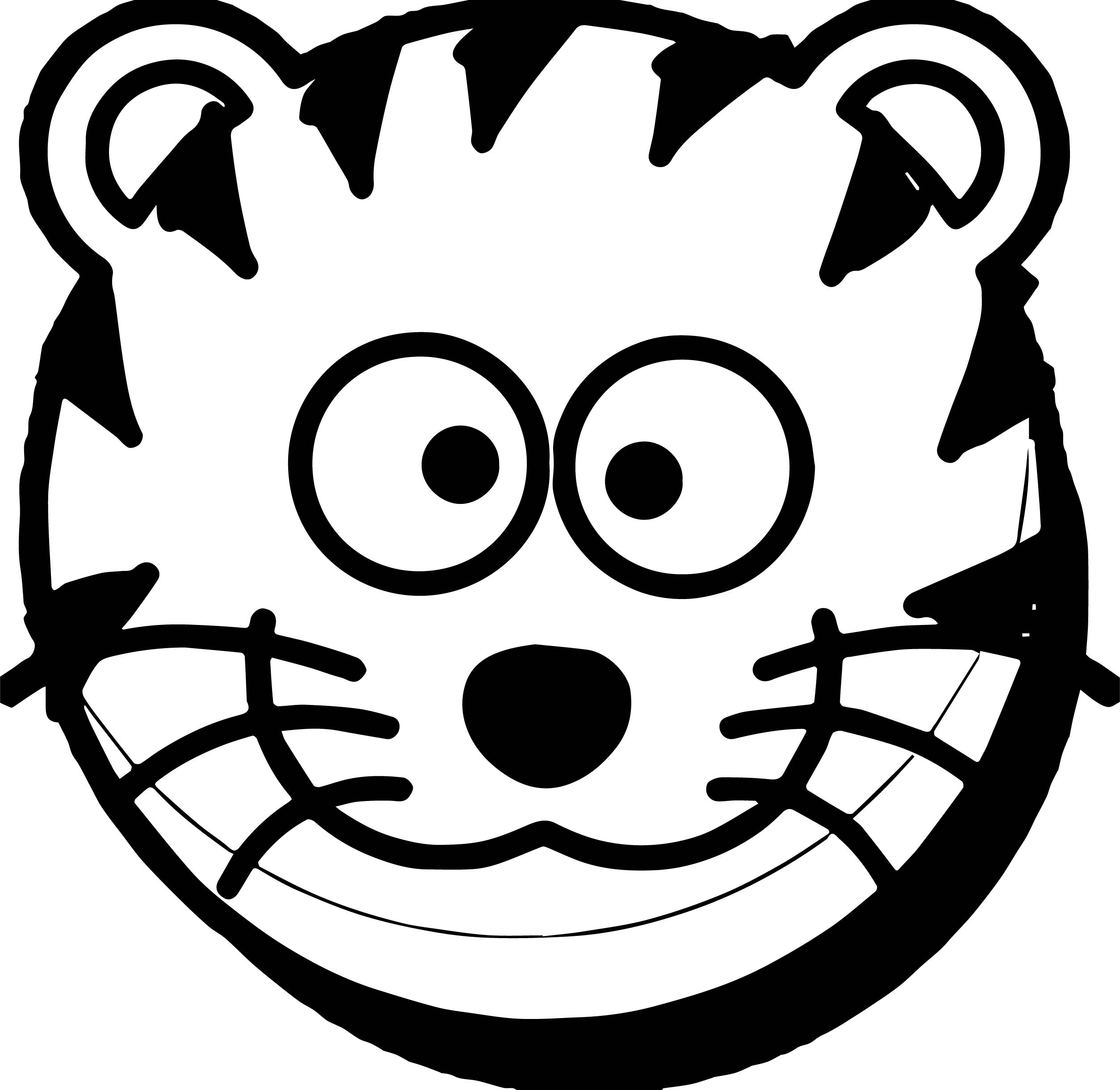 Cat Face Tiger Coloring Page