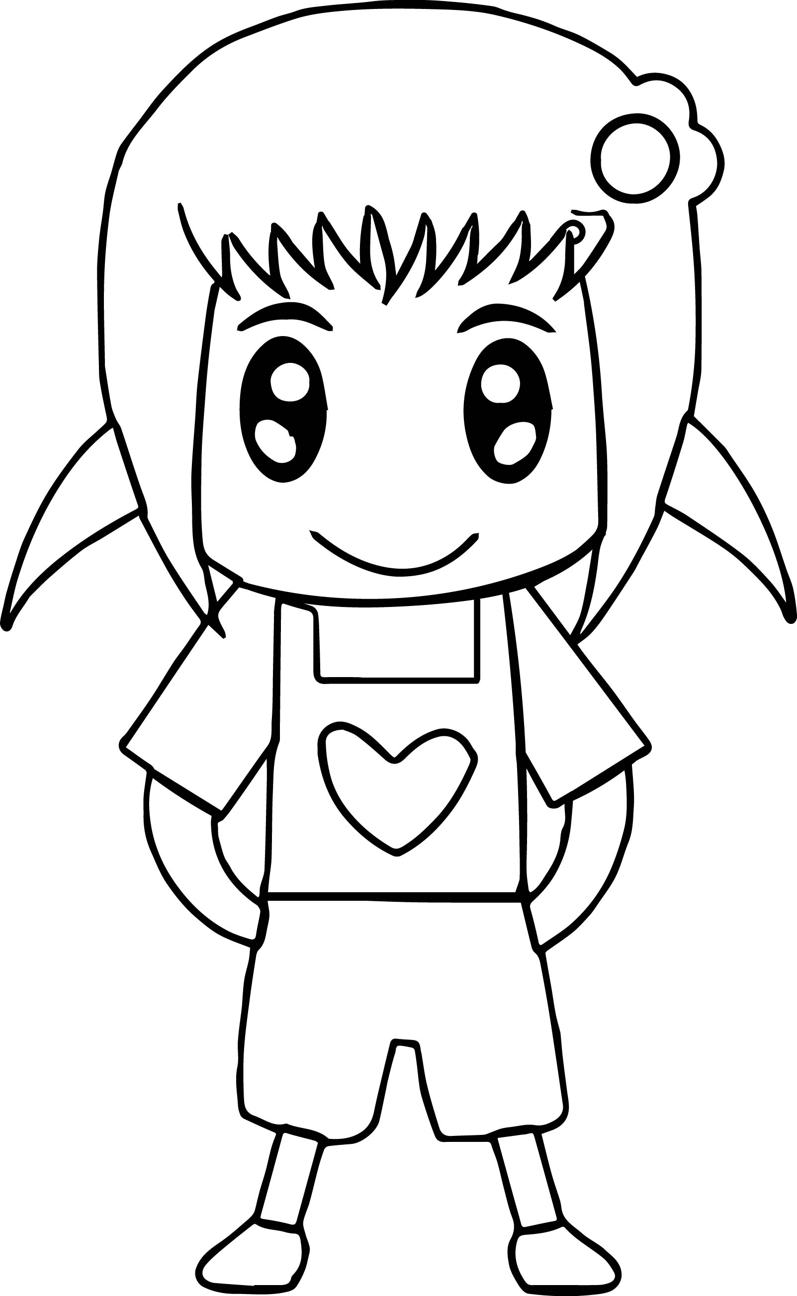 Cute Little Boy And Girl Wallpapers Cute Anime Girl Easy Coloring Page Wecoloringpage Com