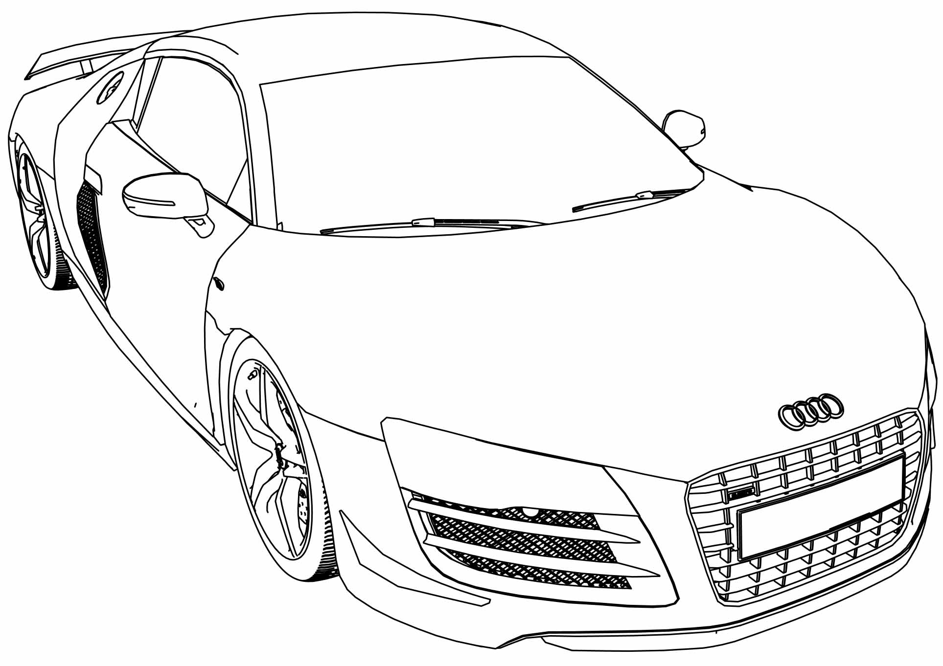 Audi R8 Gt Car Coloring Page