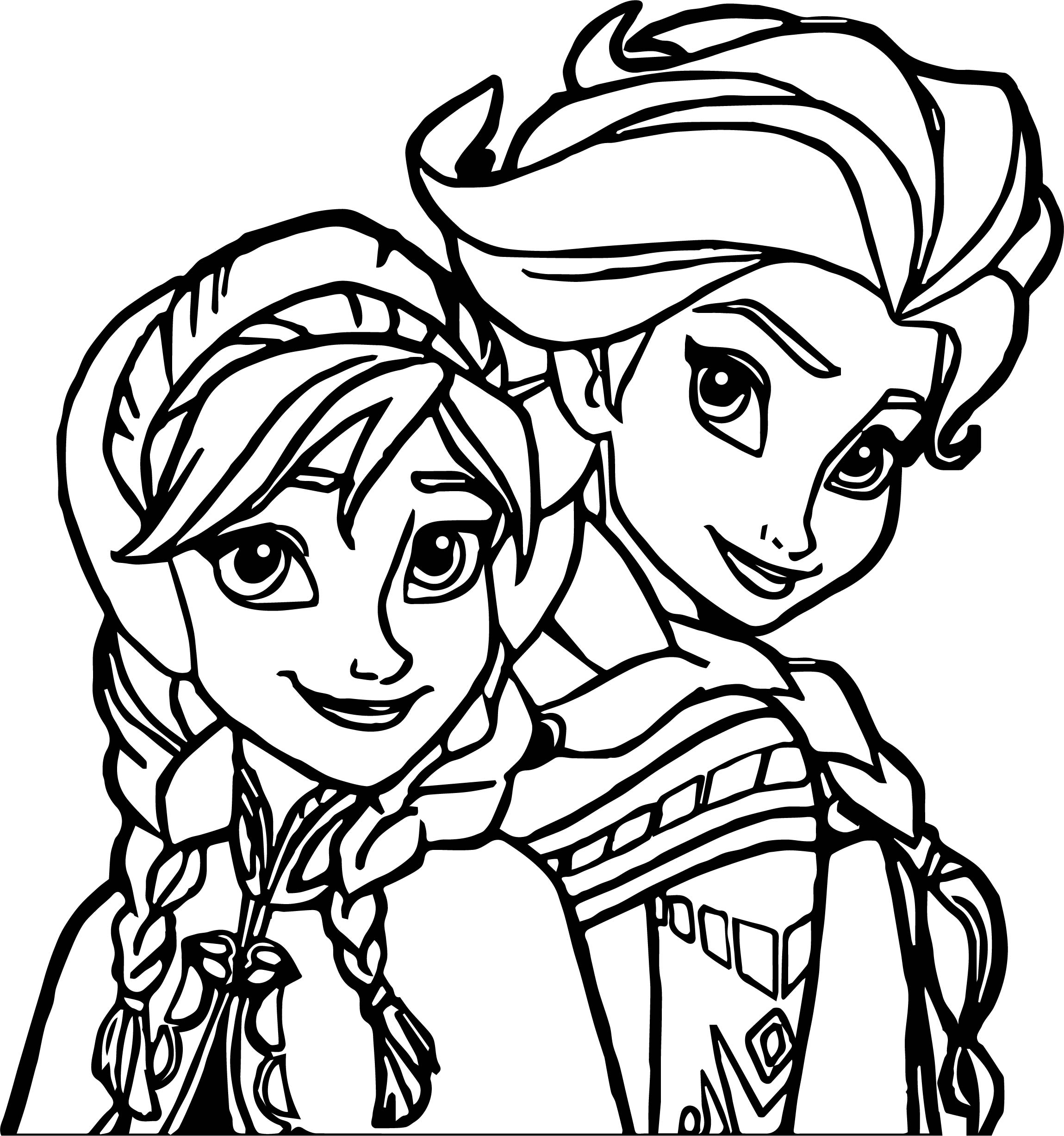 Elsa Anna Coloring Page Wecoloringpage