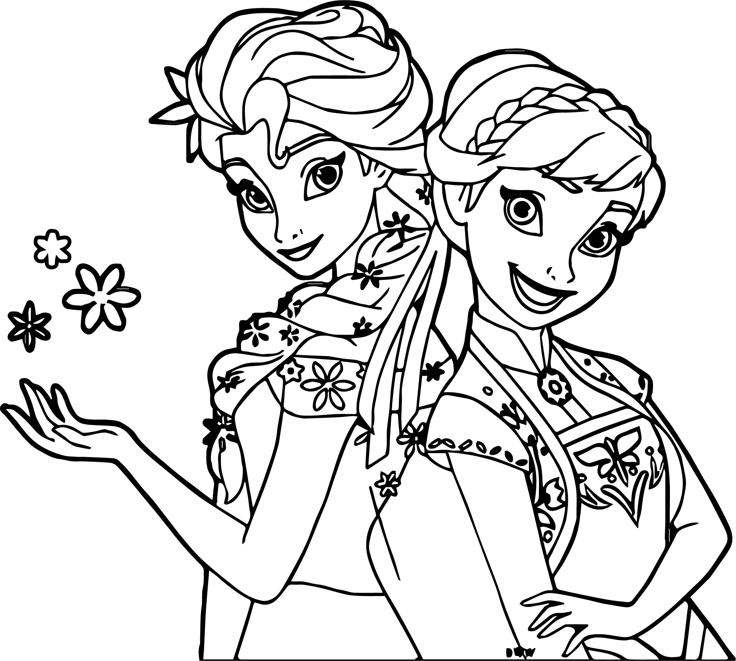 Frozen Fever And Anna Snow Coloring Page  Wecoloringpagecom