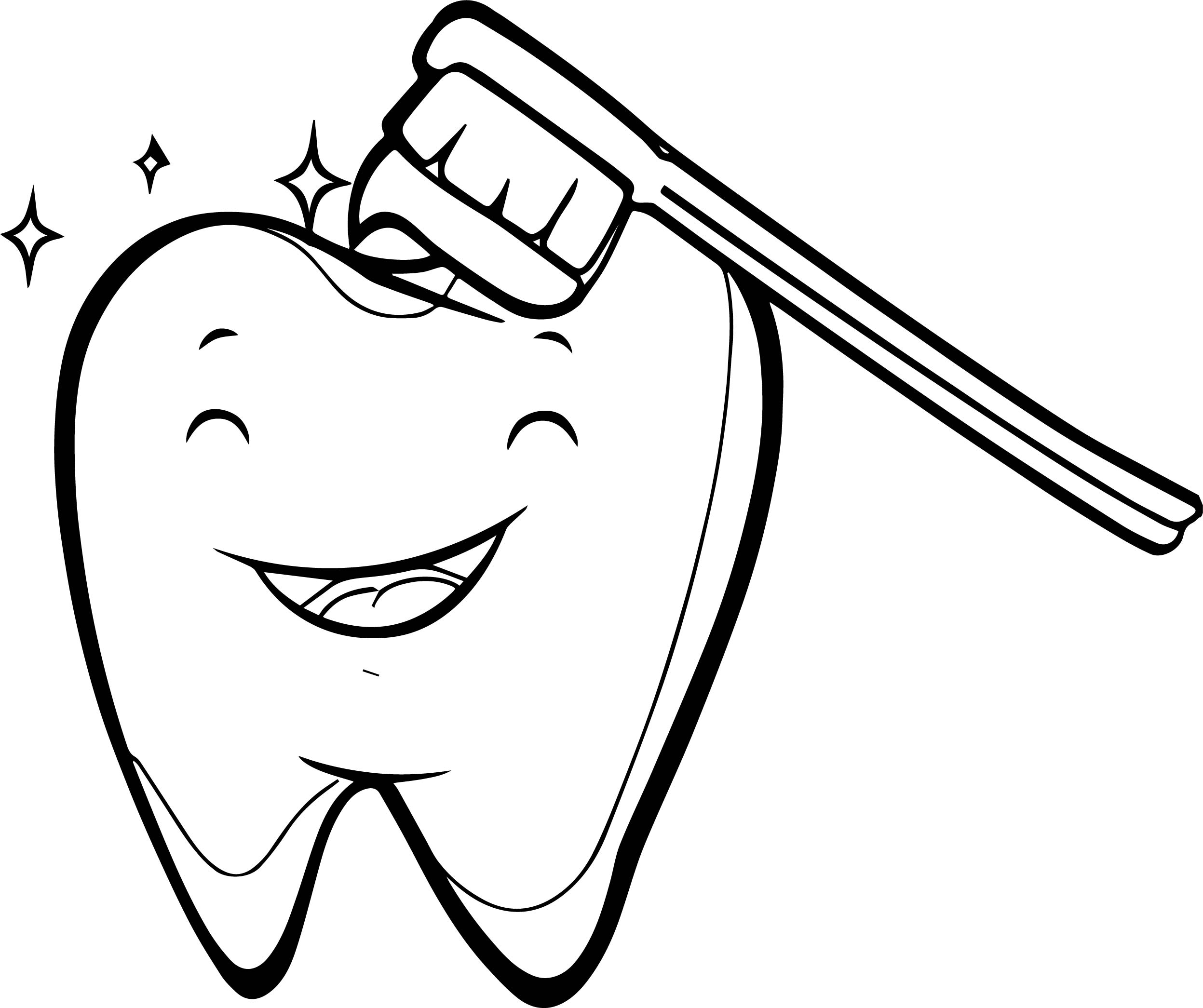 Happy Tooth Brush Dental Coloring Page