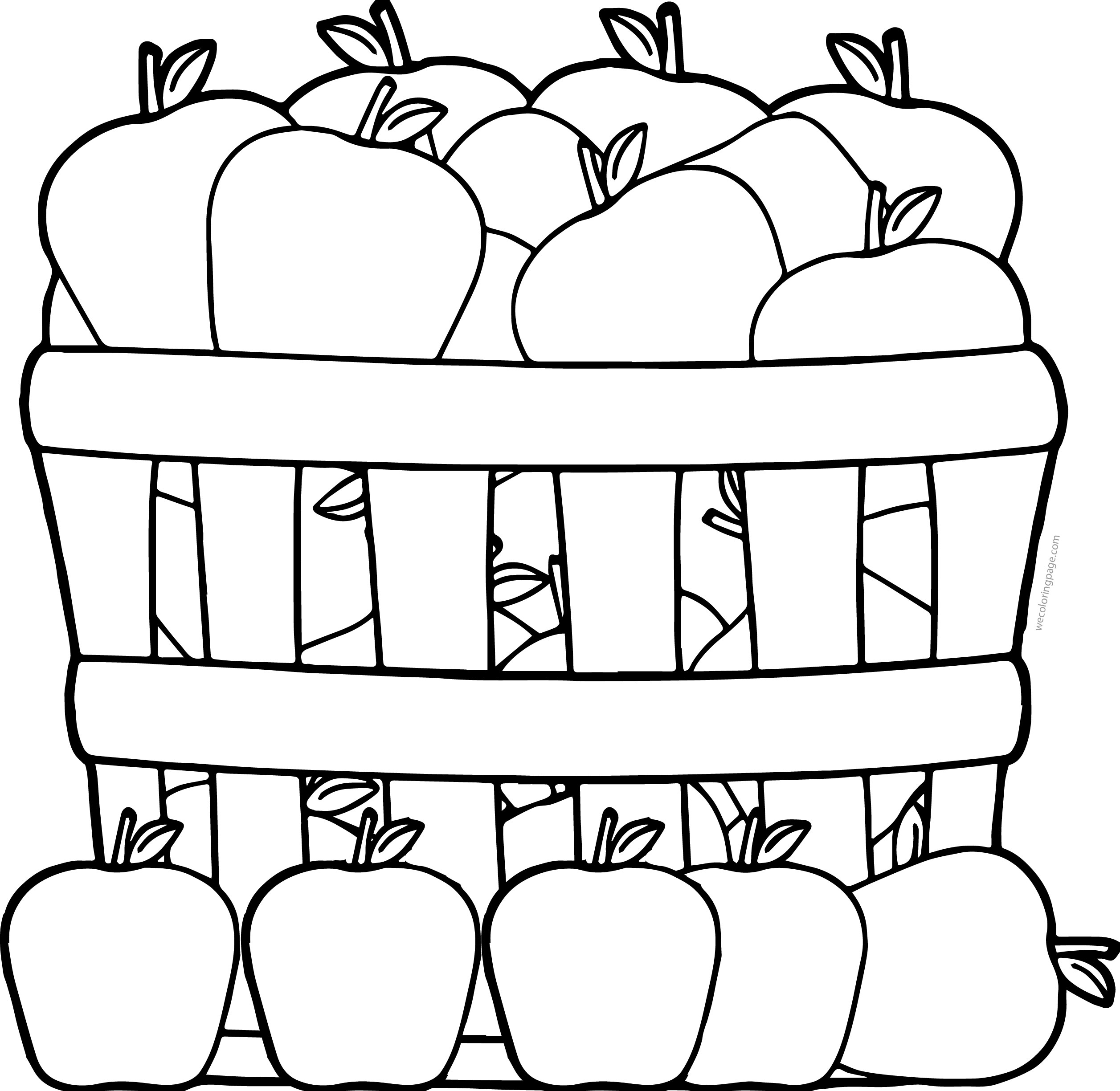 Apples In Basket Coloring Page