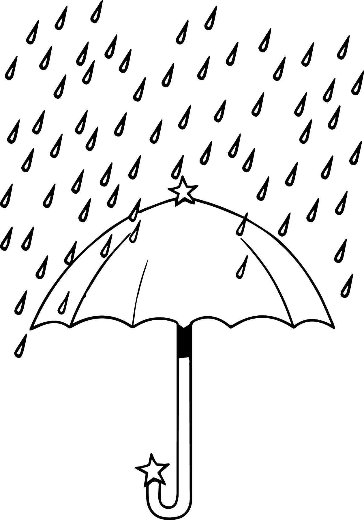 April Umbrella Rain Coloring Page