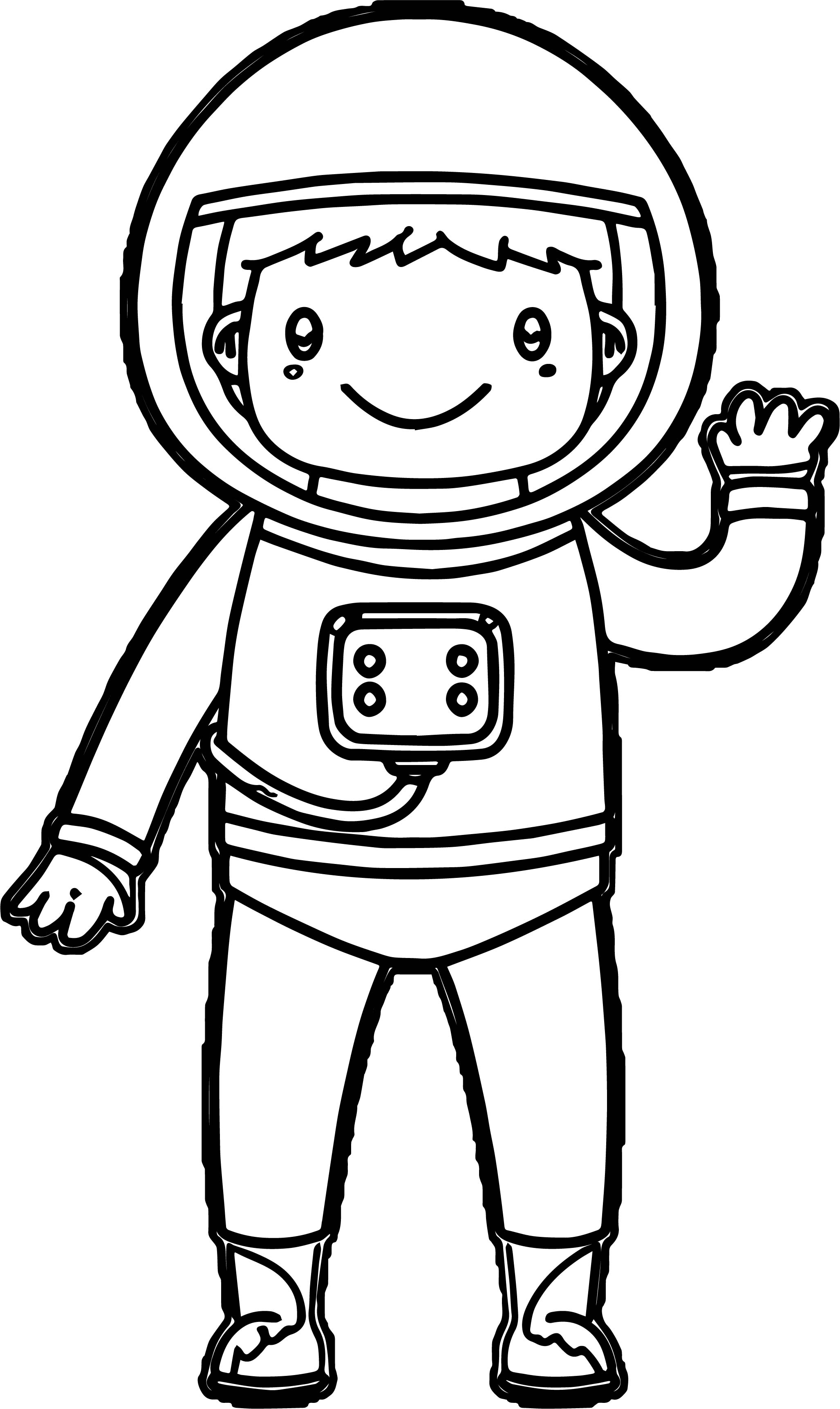 Astronaut Kids Boy Hello Coloring Page