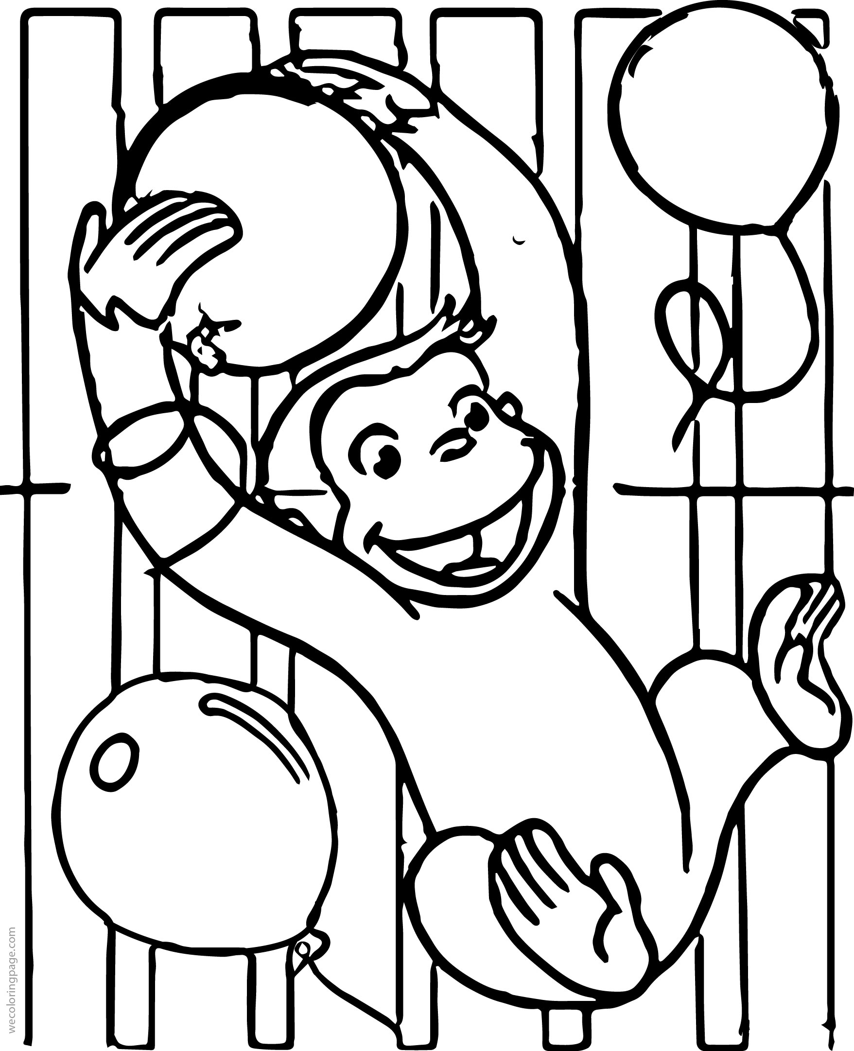 Curious George Party Invitations Coloring Page