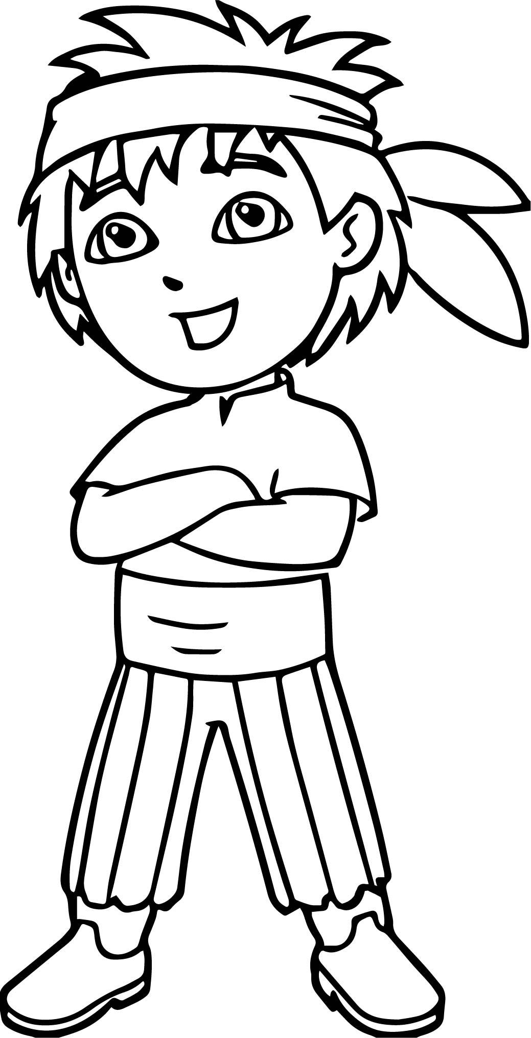 Kid Dora The Explorer Man Cartoon Coloring Page