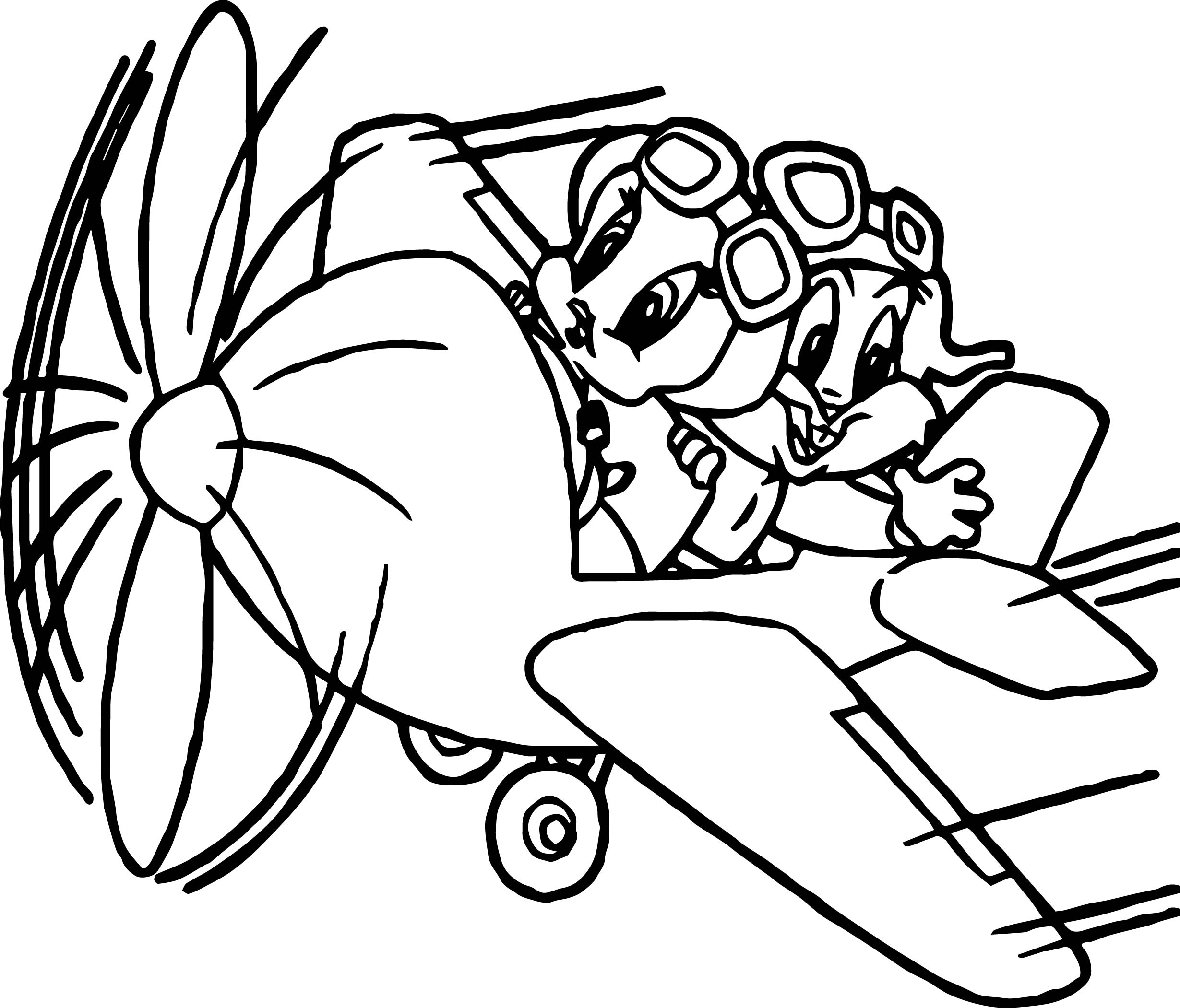 Looney Tunes Baby Twitty And Bugs Bunny Flying In Plane